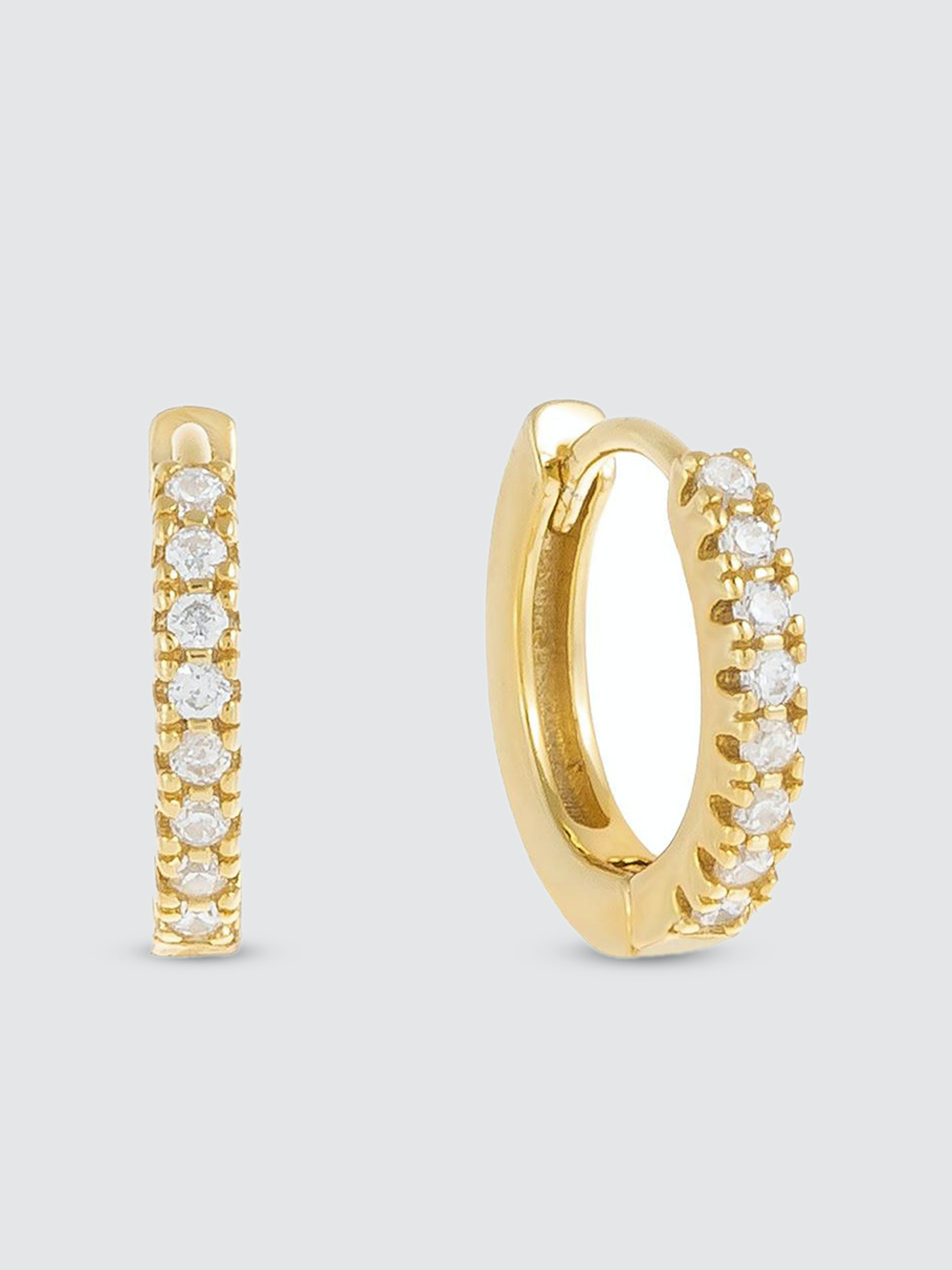 Adinas Jewels Earrings CZ MINI HUGGIE EARRING