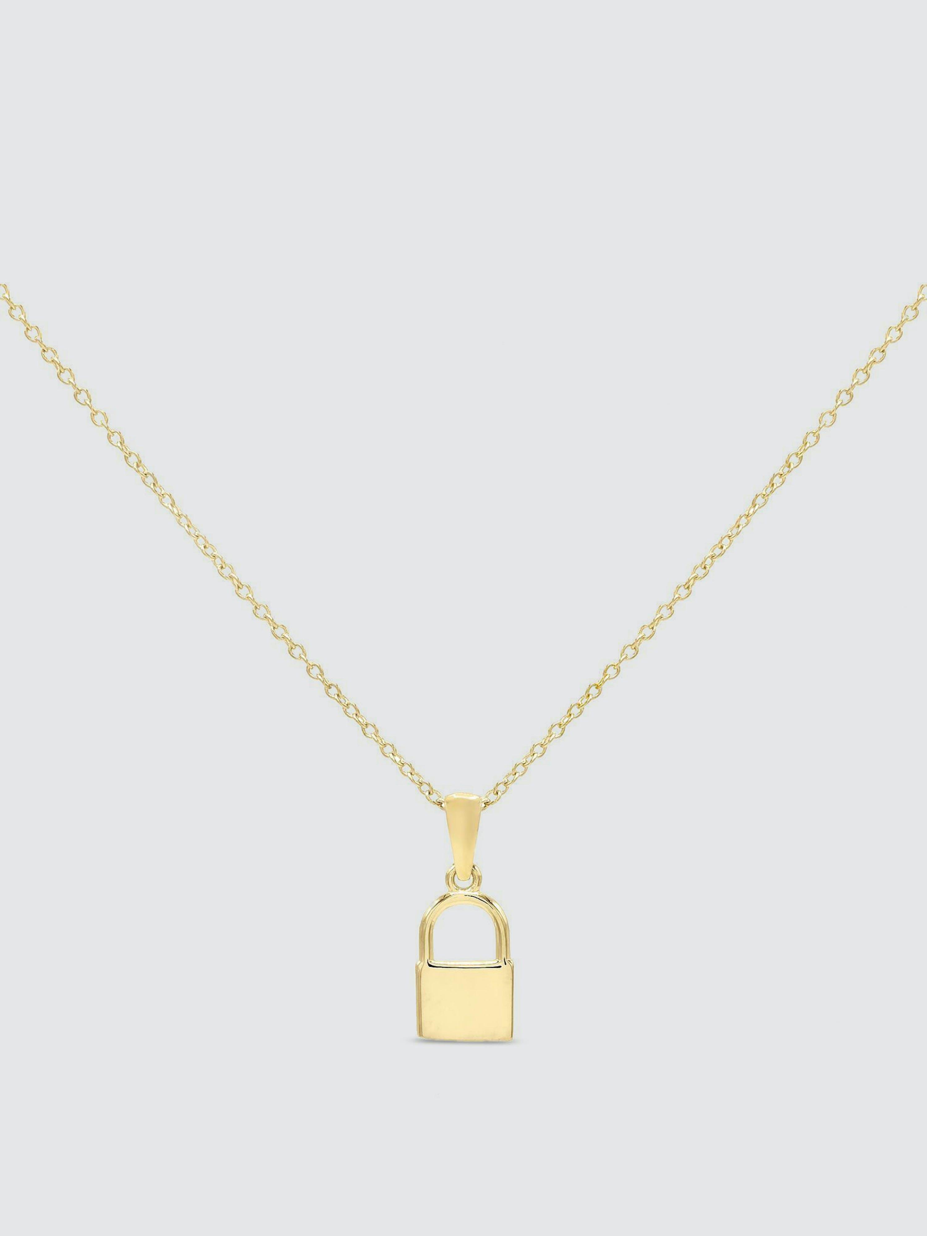 Adinas Jewels Mini Lock Necklace In Gold