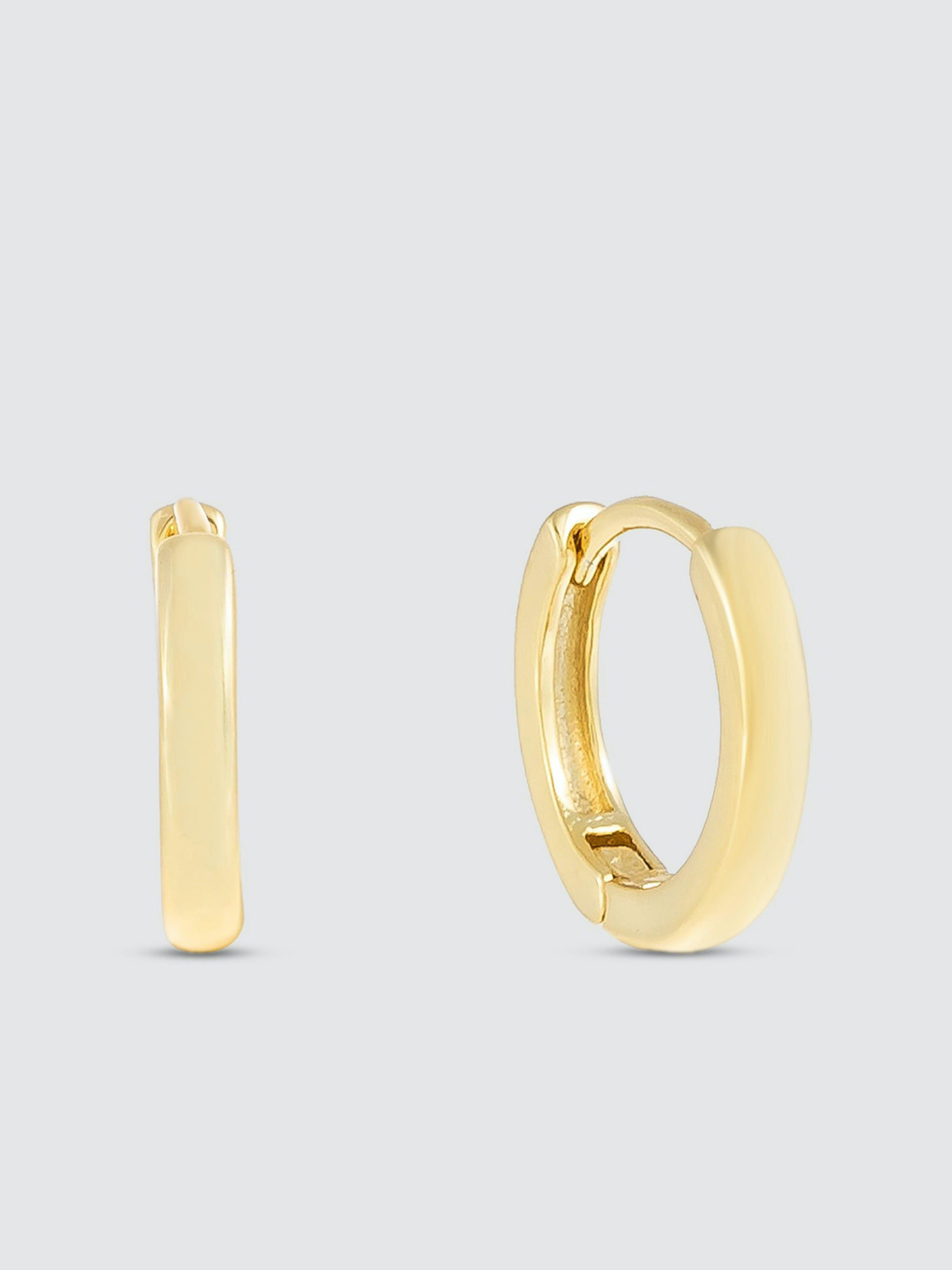 Adinas Jewels Earrings PLAIN RING HUGGIE EARRING