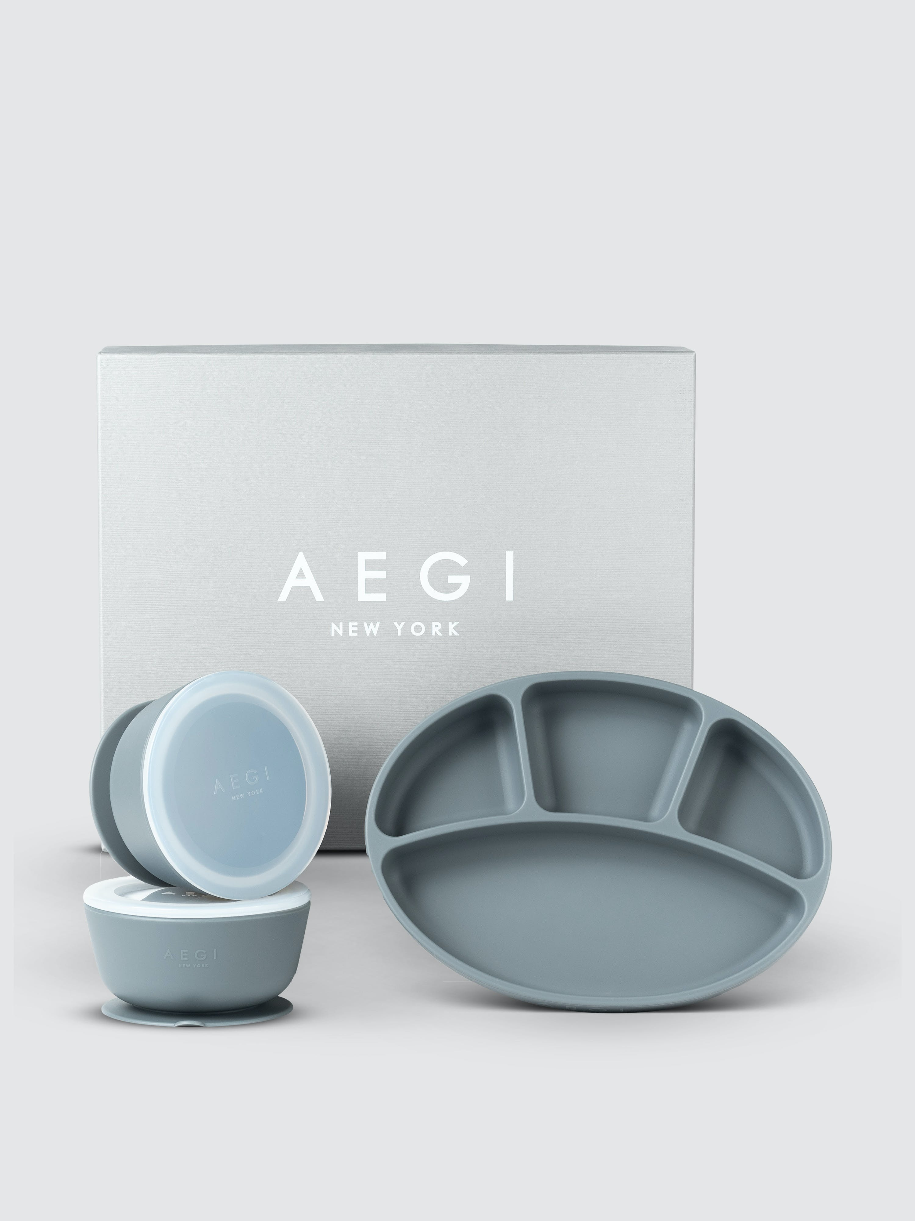 Aegi New York Silicone Suction Gift Set In Peppercorn