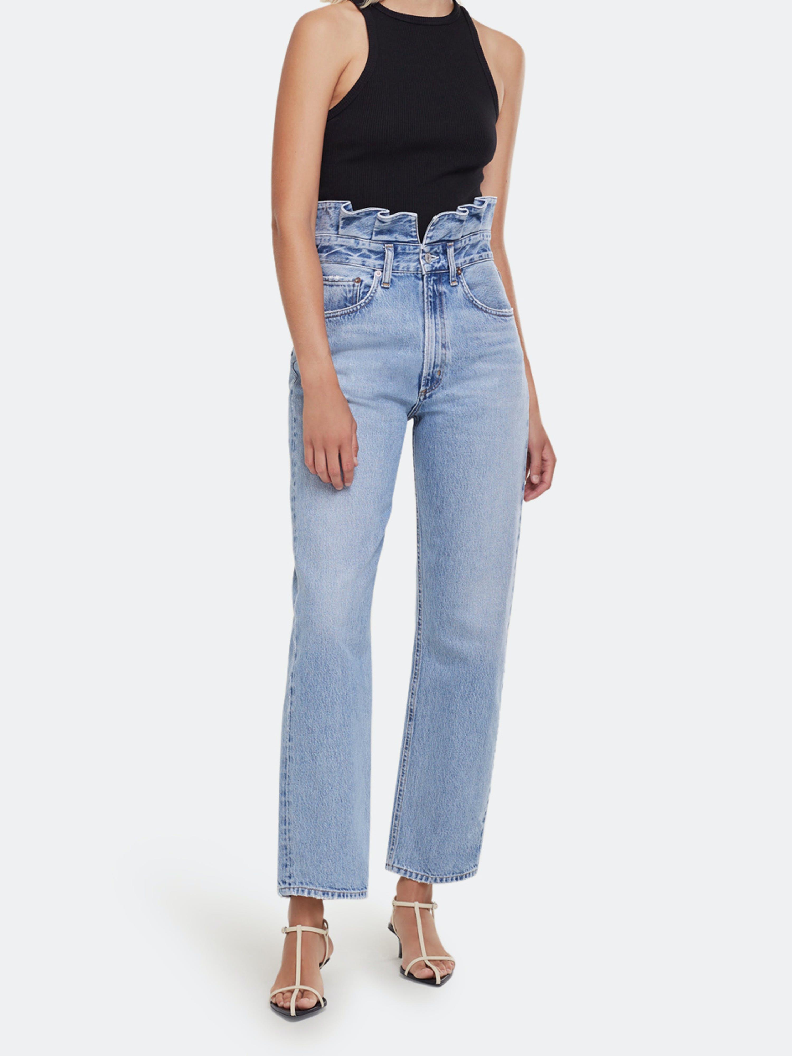 Agolde Pants AGOLDE LETTUCE WAISTBAND HIGH RISE FULL LENGTH STRAIGHT JEANS
