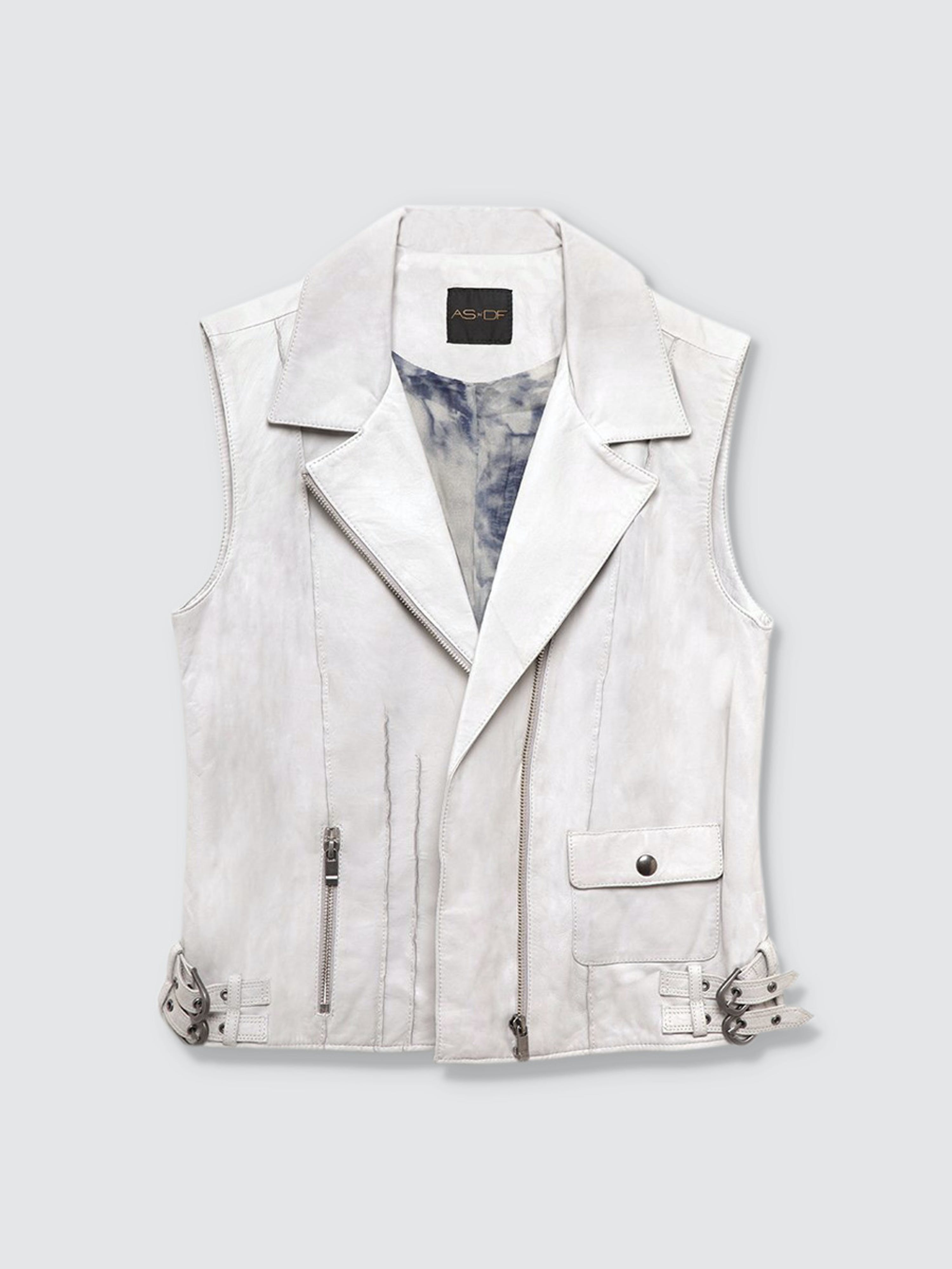 As By Df Miss Grey Leather Vest In White