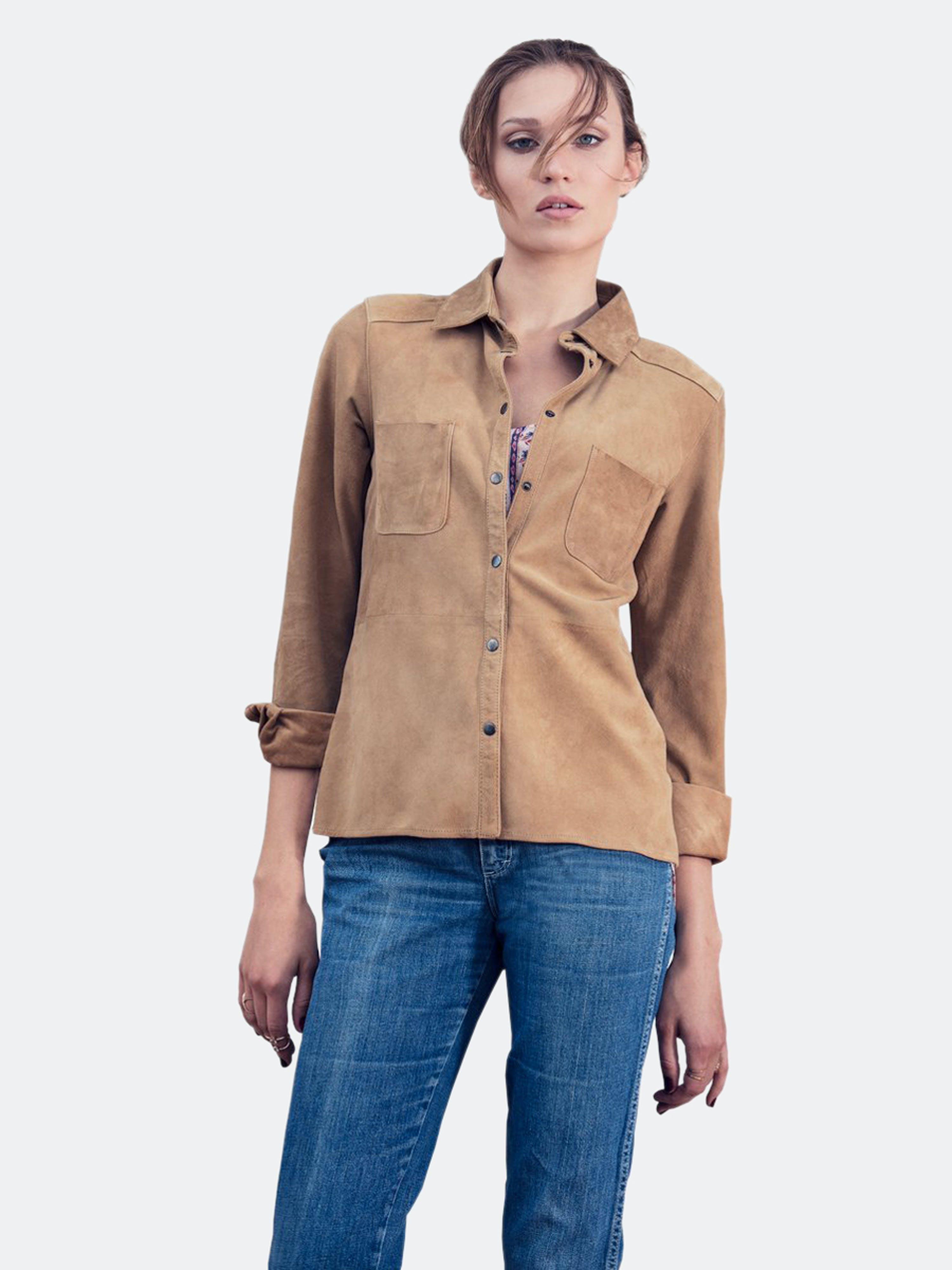 As By Df Sweet Surrender Suede Shirt In Brown
