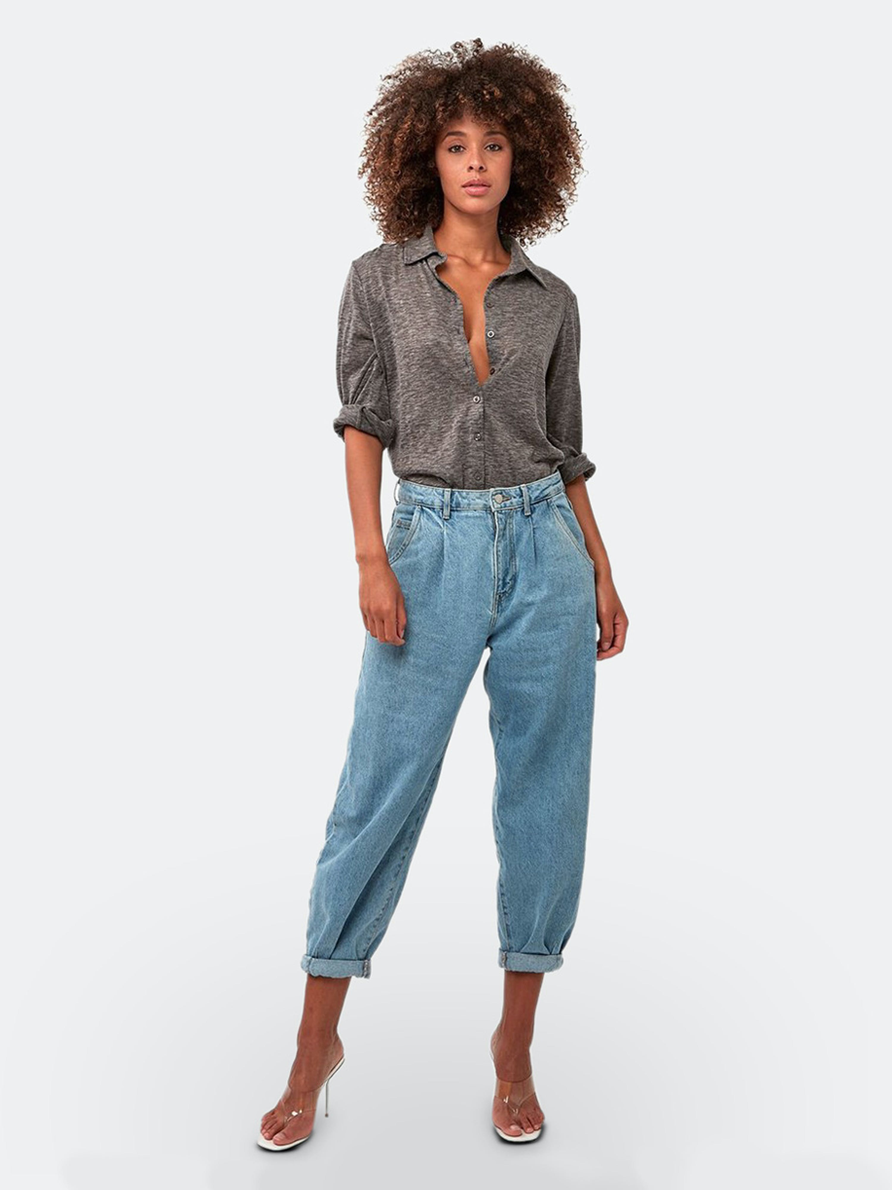 Astars The Essential Button Down Tunic In Grey