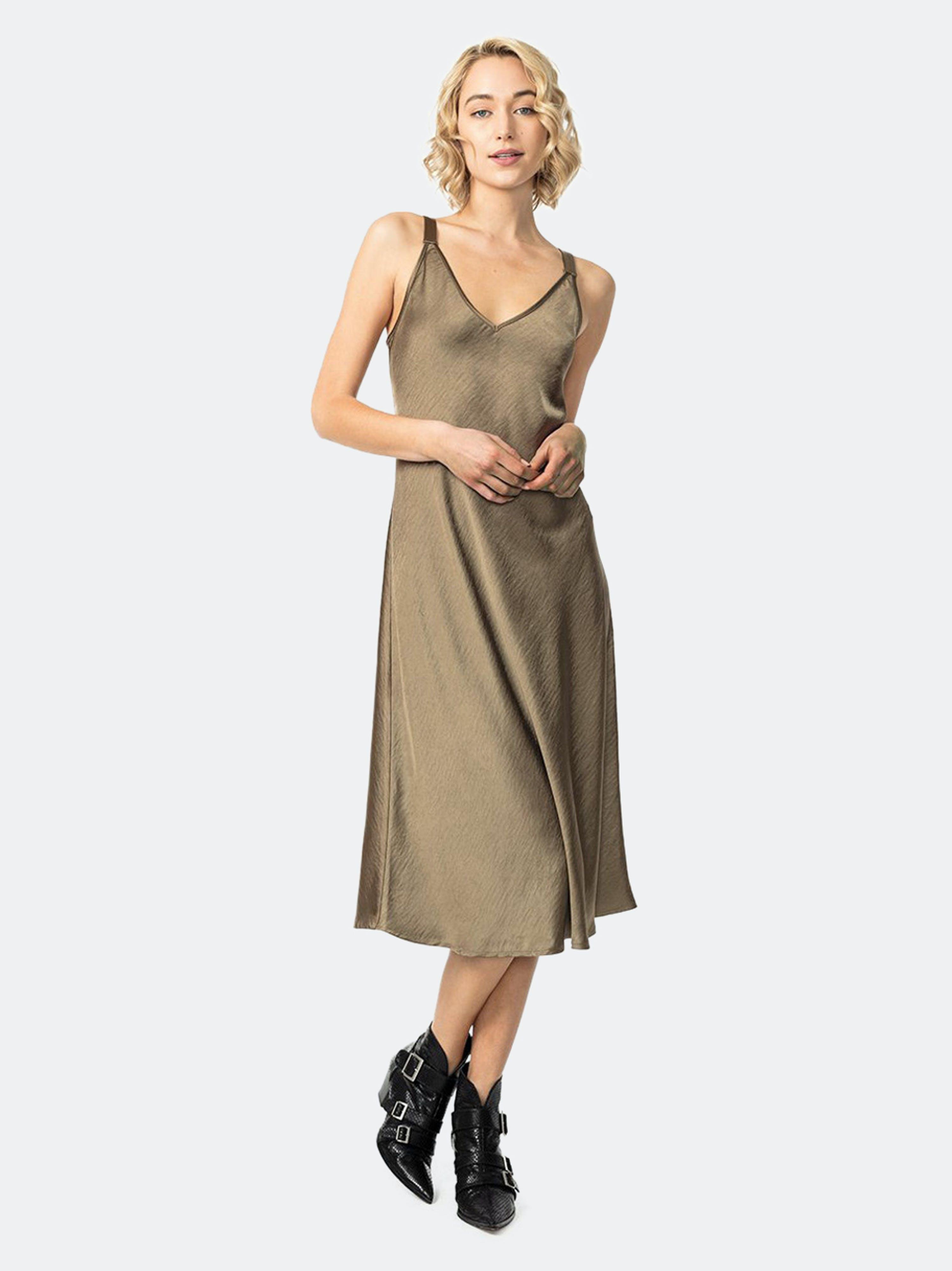 Astars Wellington Slip Dress In Brown