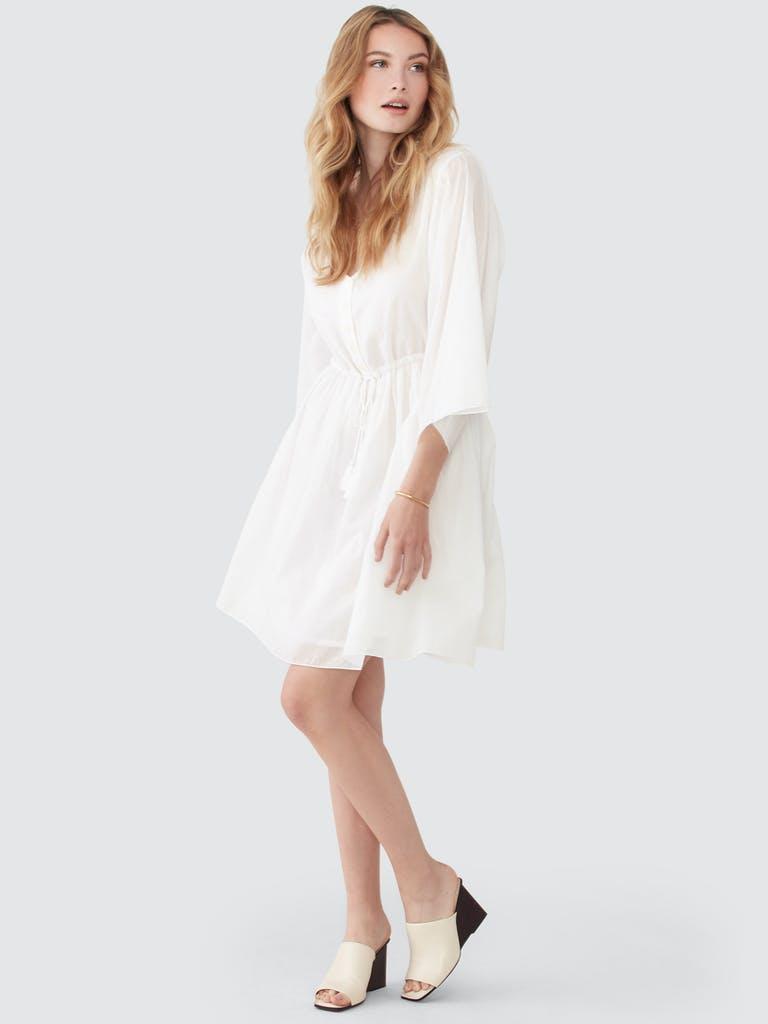 ATM Anthony Thomas Melillo Crinkle Cotton V-Neck Long Sleeve Dress product image