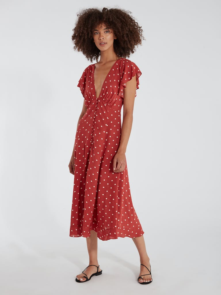 later best sell uk store Auguste The Label Polly Sunday Polka Dot Midi Dress | Verishop