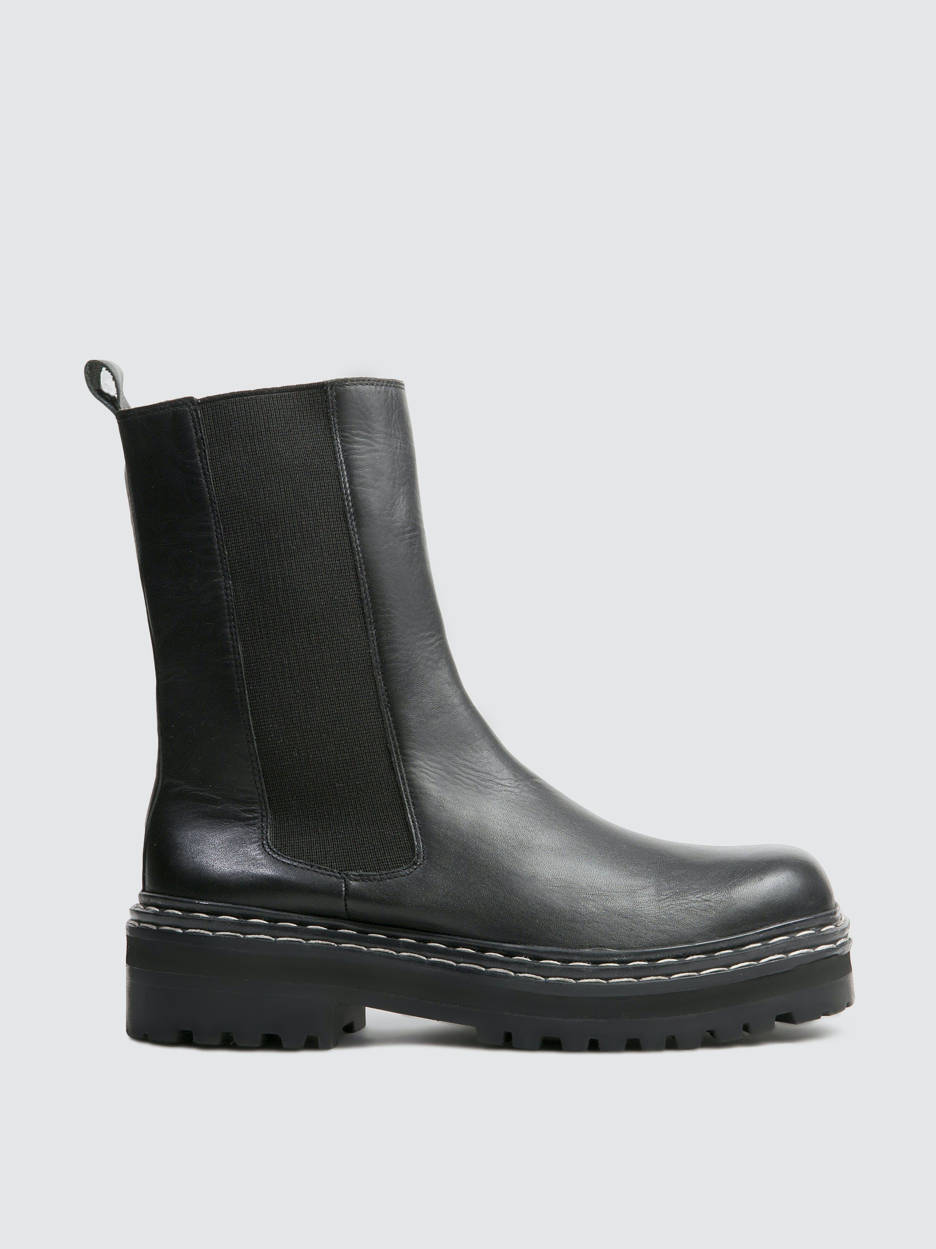 Black Suede Studio Riya Leather Boot