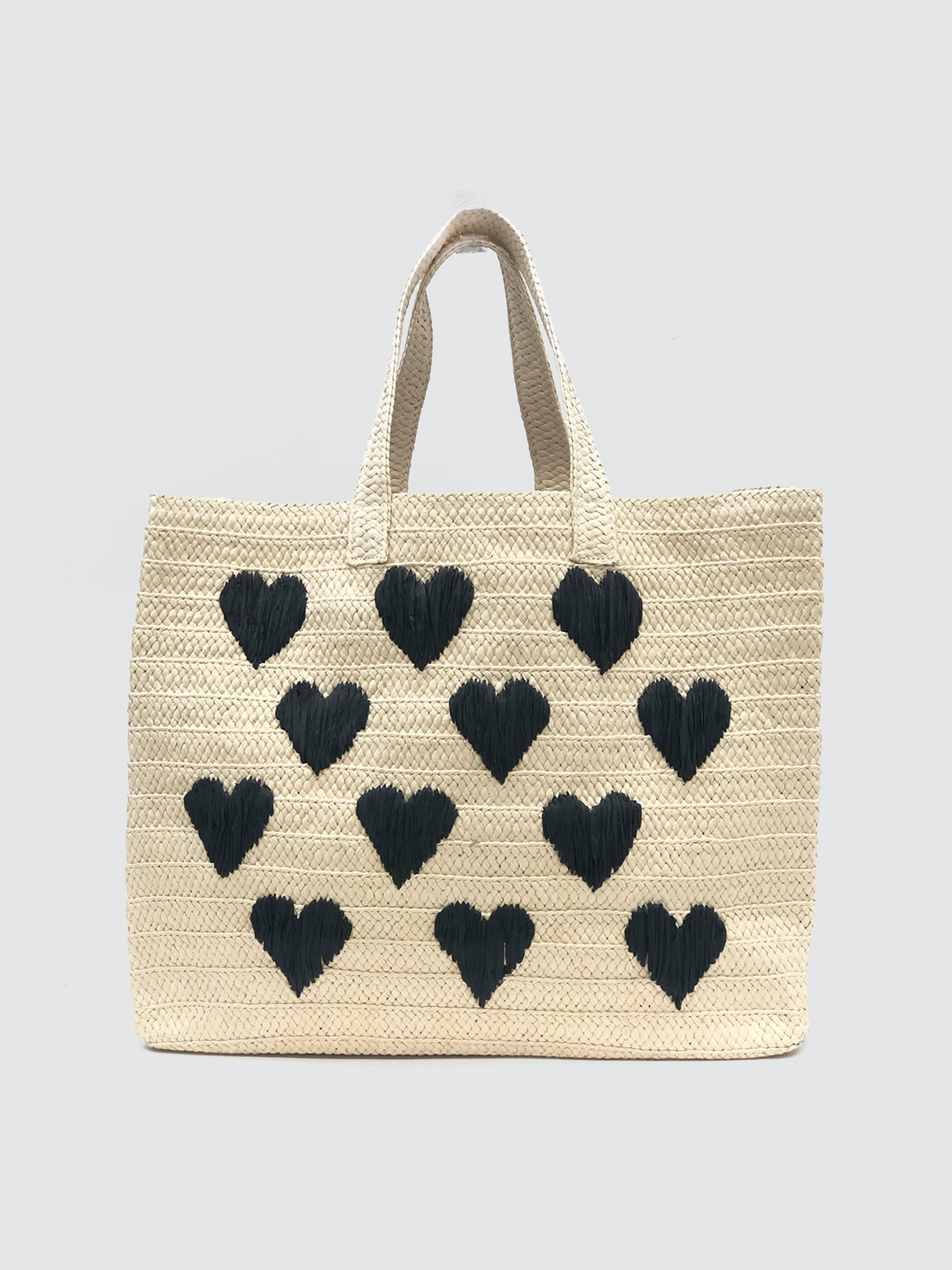Btb Be Mine Straw Tote In Natural Black