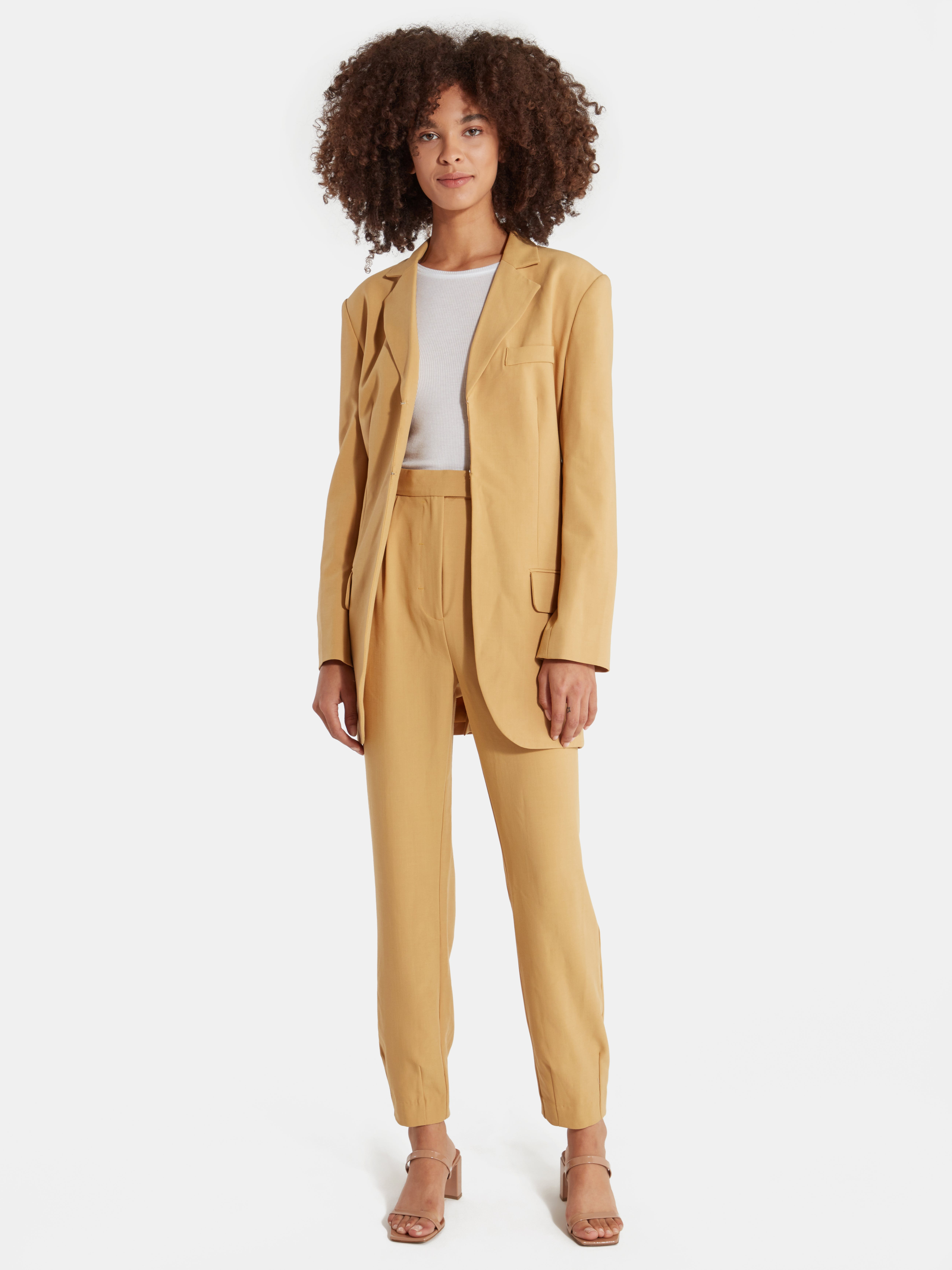 C//Meo Collective Womens Double Breasted Blazer with Front Pockets and Button Detail