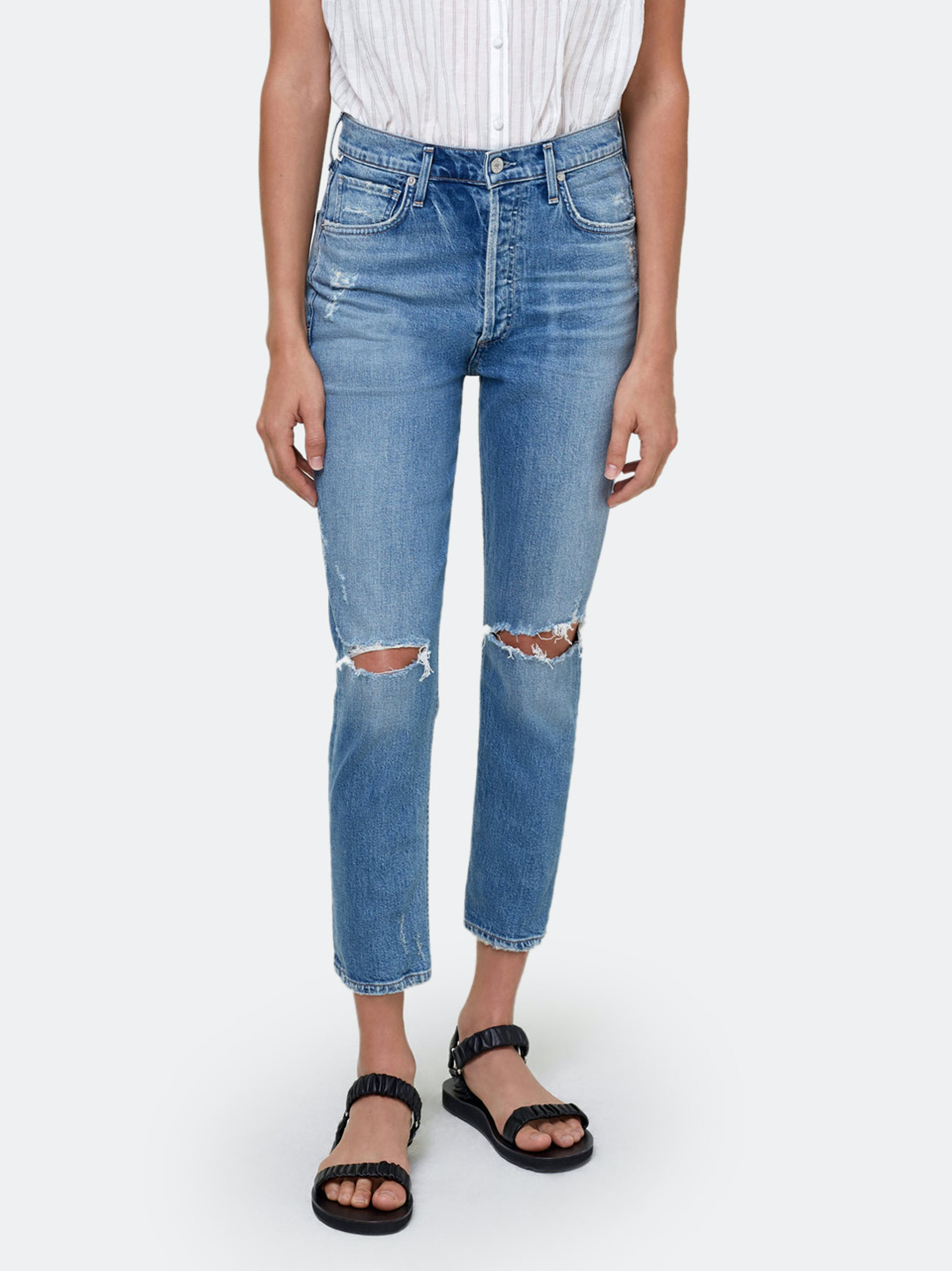 Citizens Of Humanity CITIZENS OF HUMANITY CHARLOTTE HIGH RISE CROPPED STRAIGHT FIT JEANS