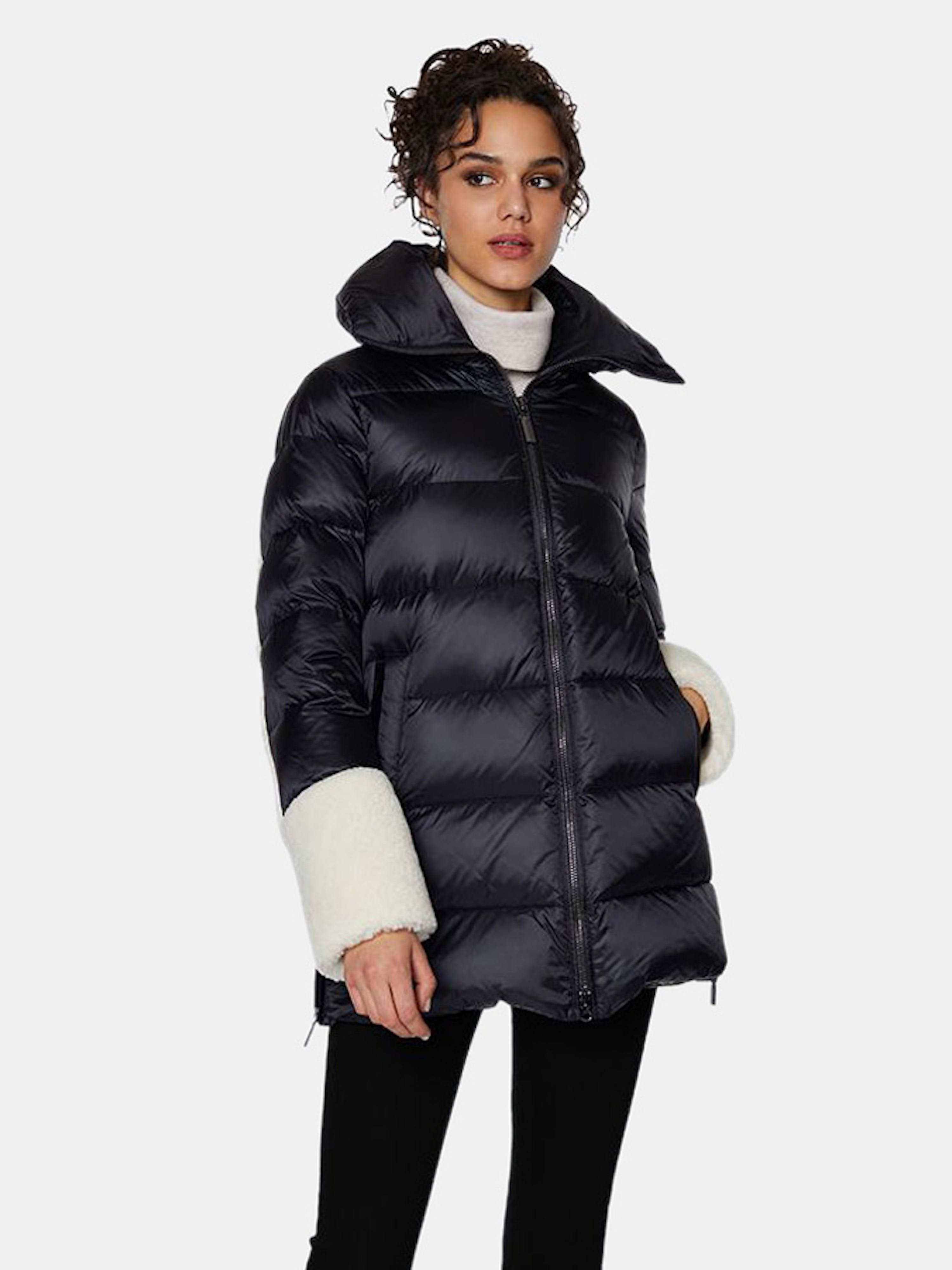 Dawn Levy Emmie Frost Mixed Media Midweight Puffer In Black
