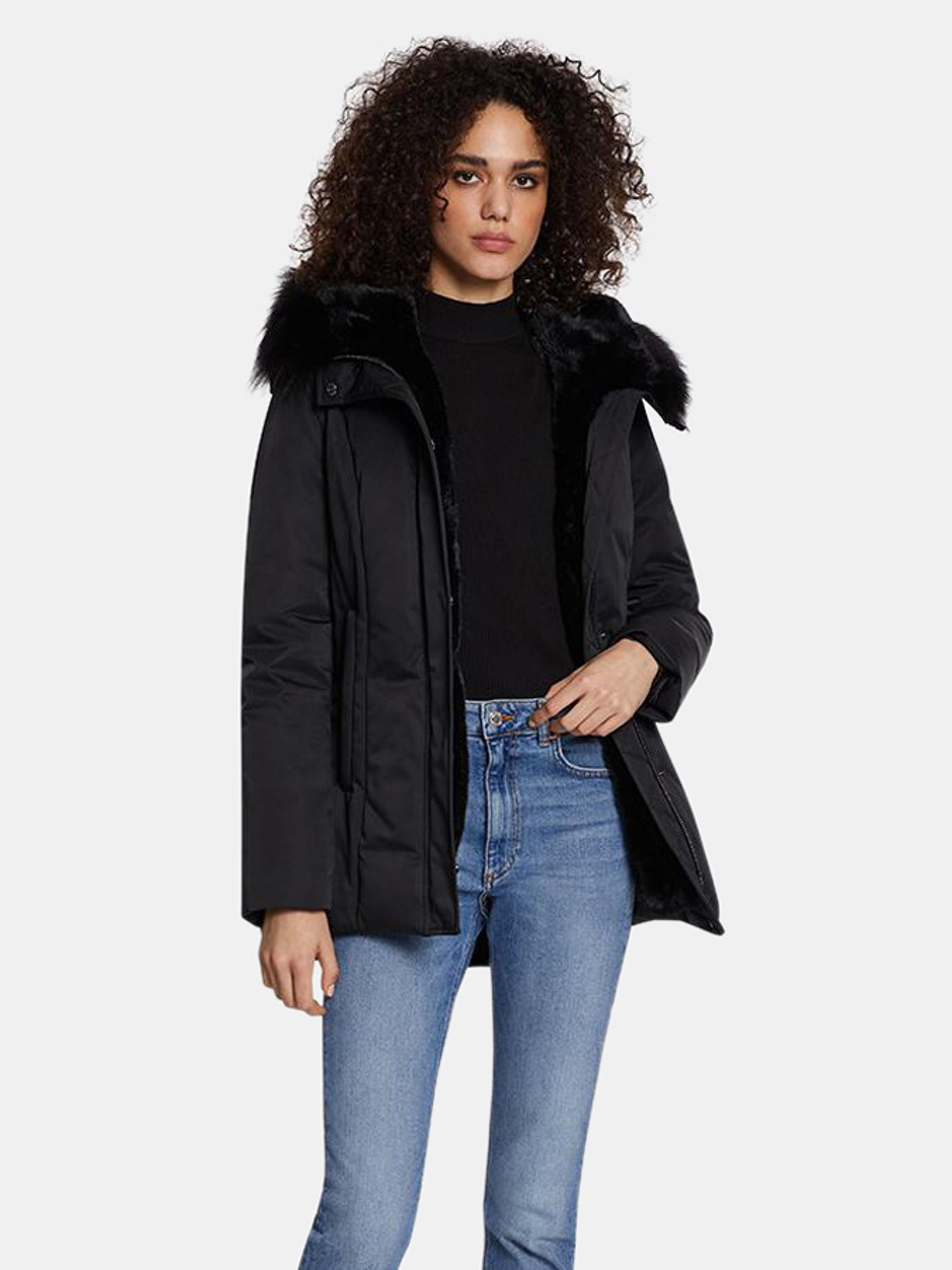 Dawn Levy Luka Fitted Parka With Velvet & Fur Trim In Black