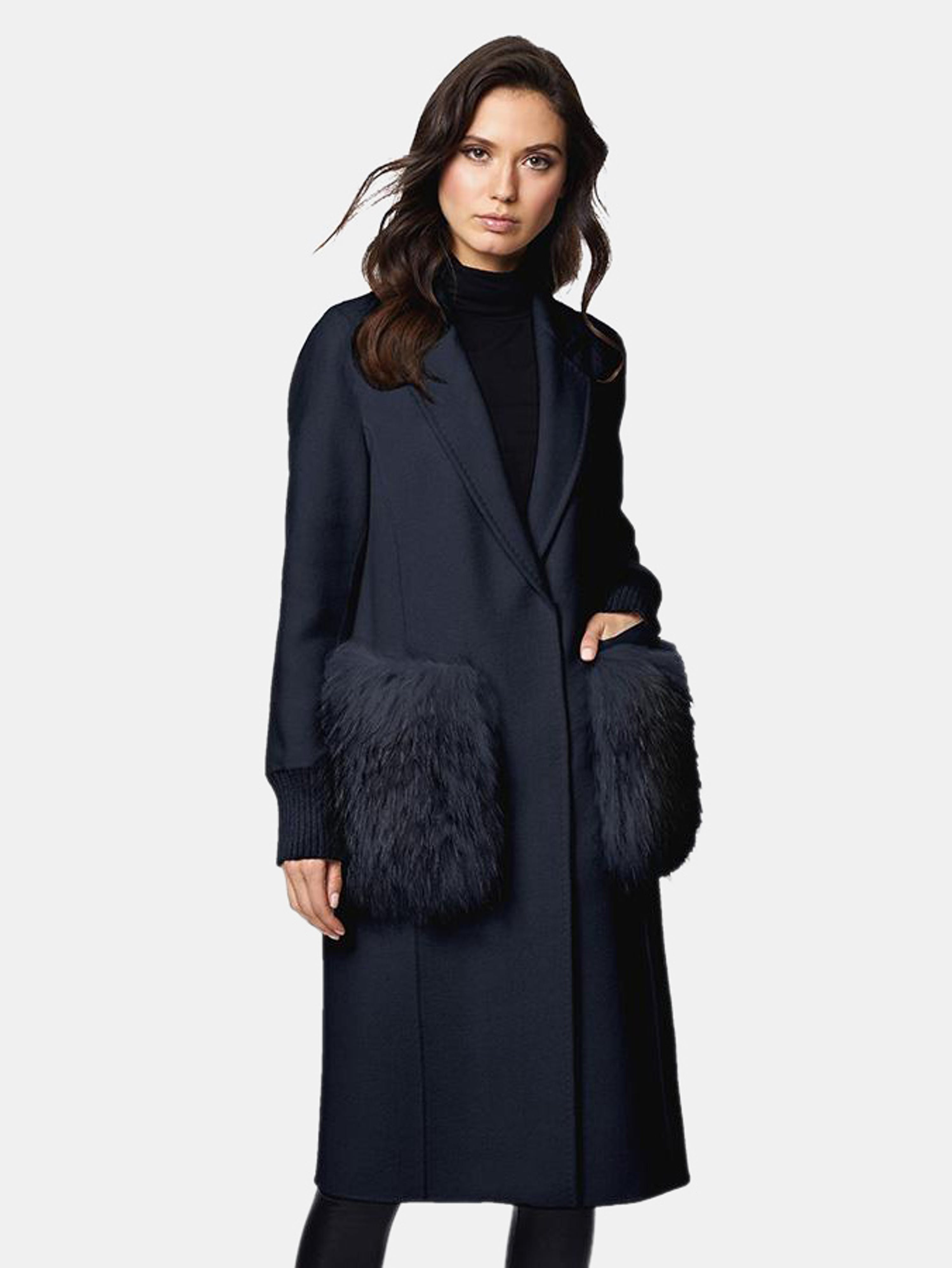 Dawn Levy Natalie Double Faced Wool Coat With Fur Trim In Blue