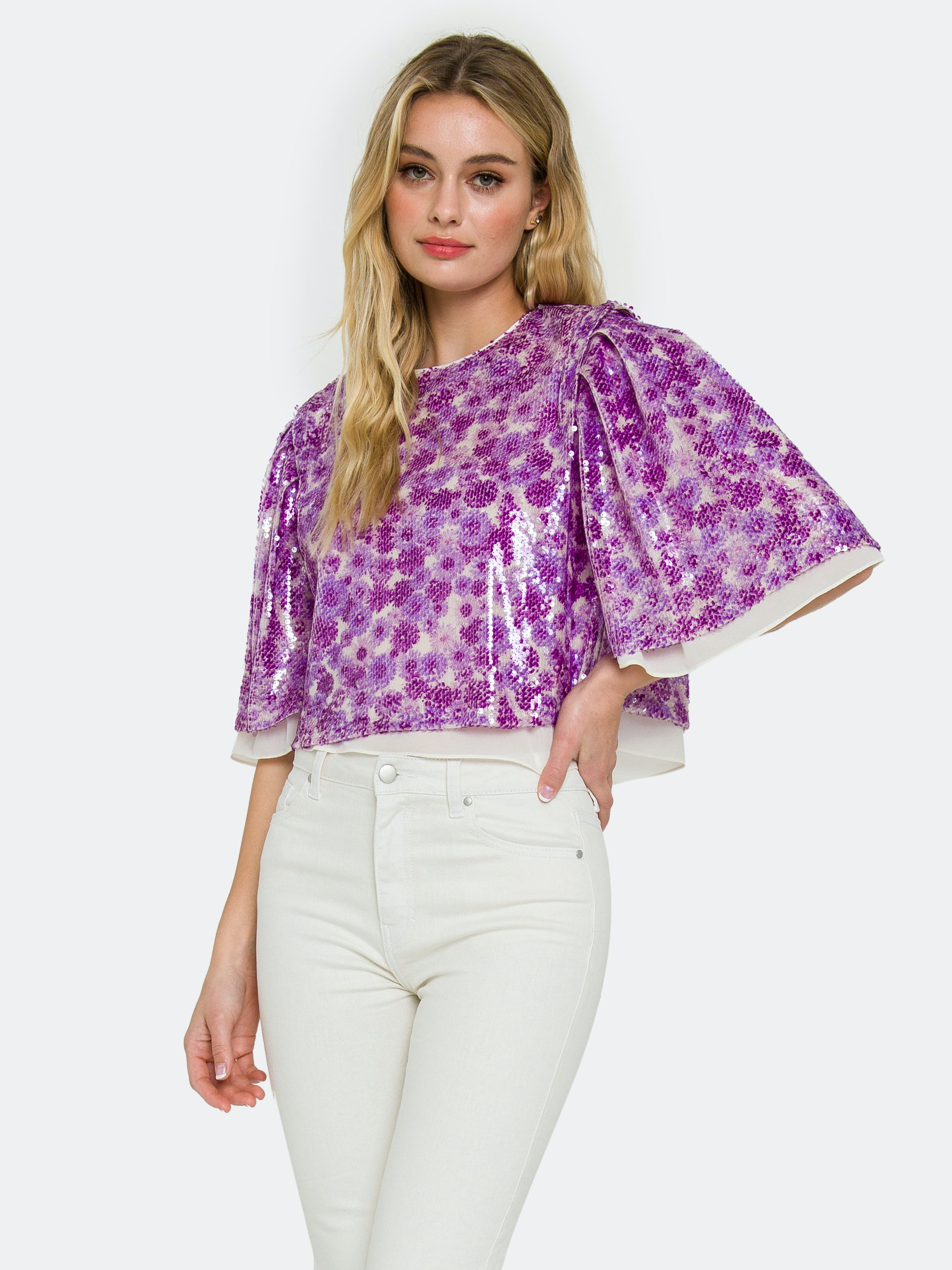 Endless Rose Tops ENDLESS ROSE FLORAL PRINT SEQUIN TOP