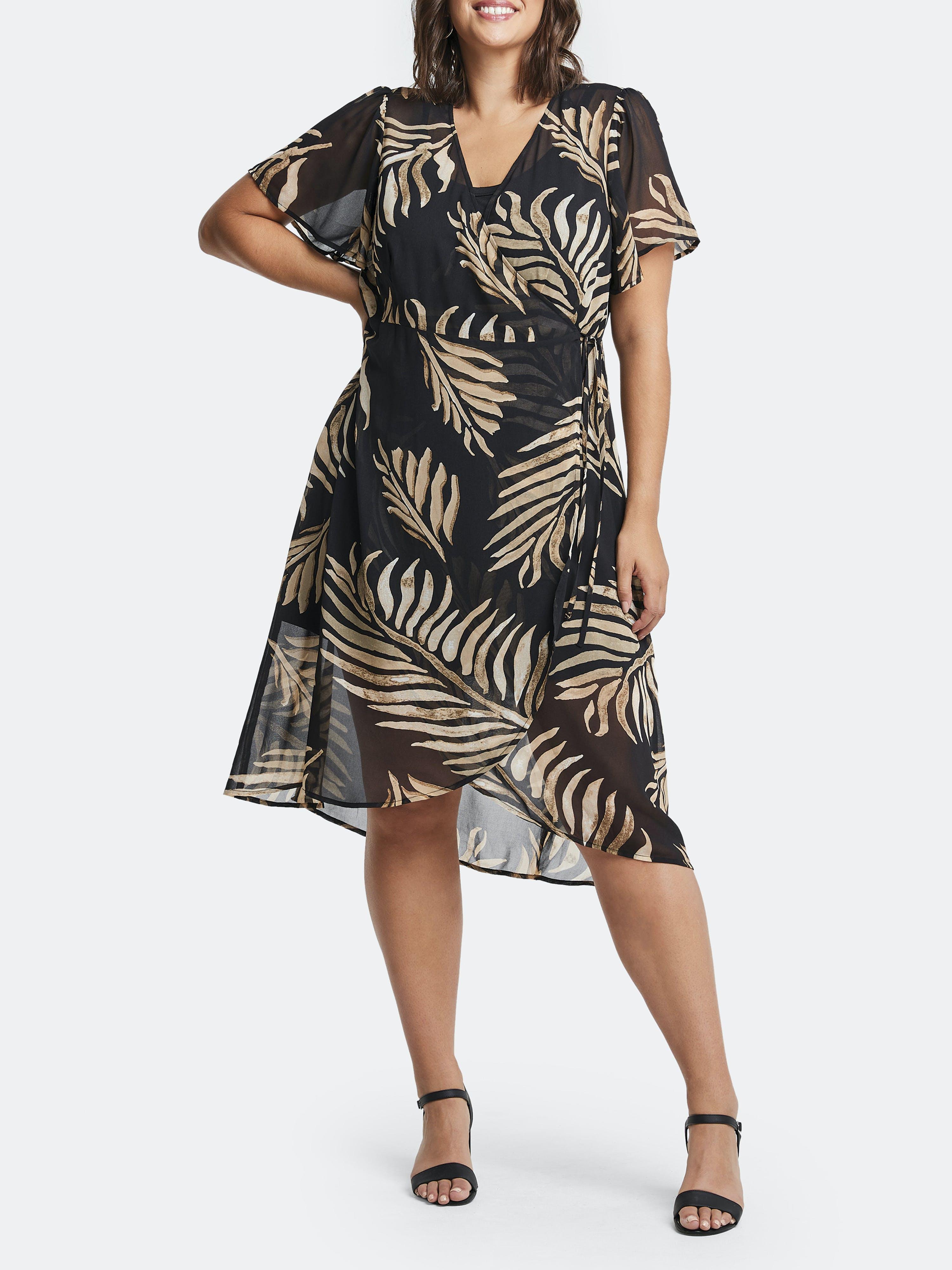 Estelle Midi dresses ESTELLE WILD FERN WRAP DRESS