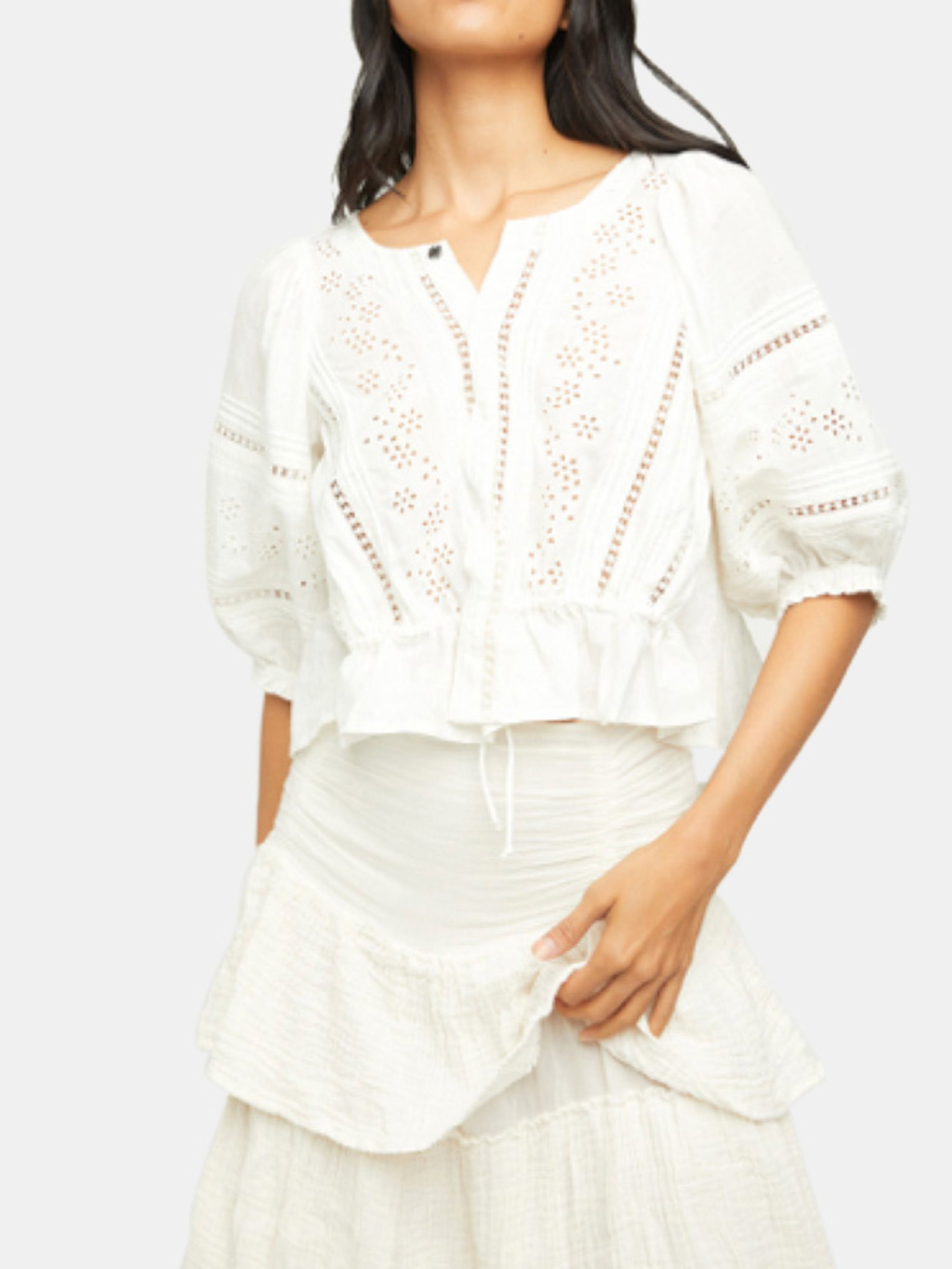 Free People Cottons FREE PEOPLE DAISY CHAINS EYELET TOP