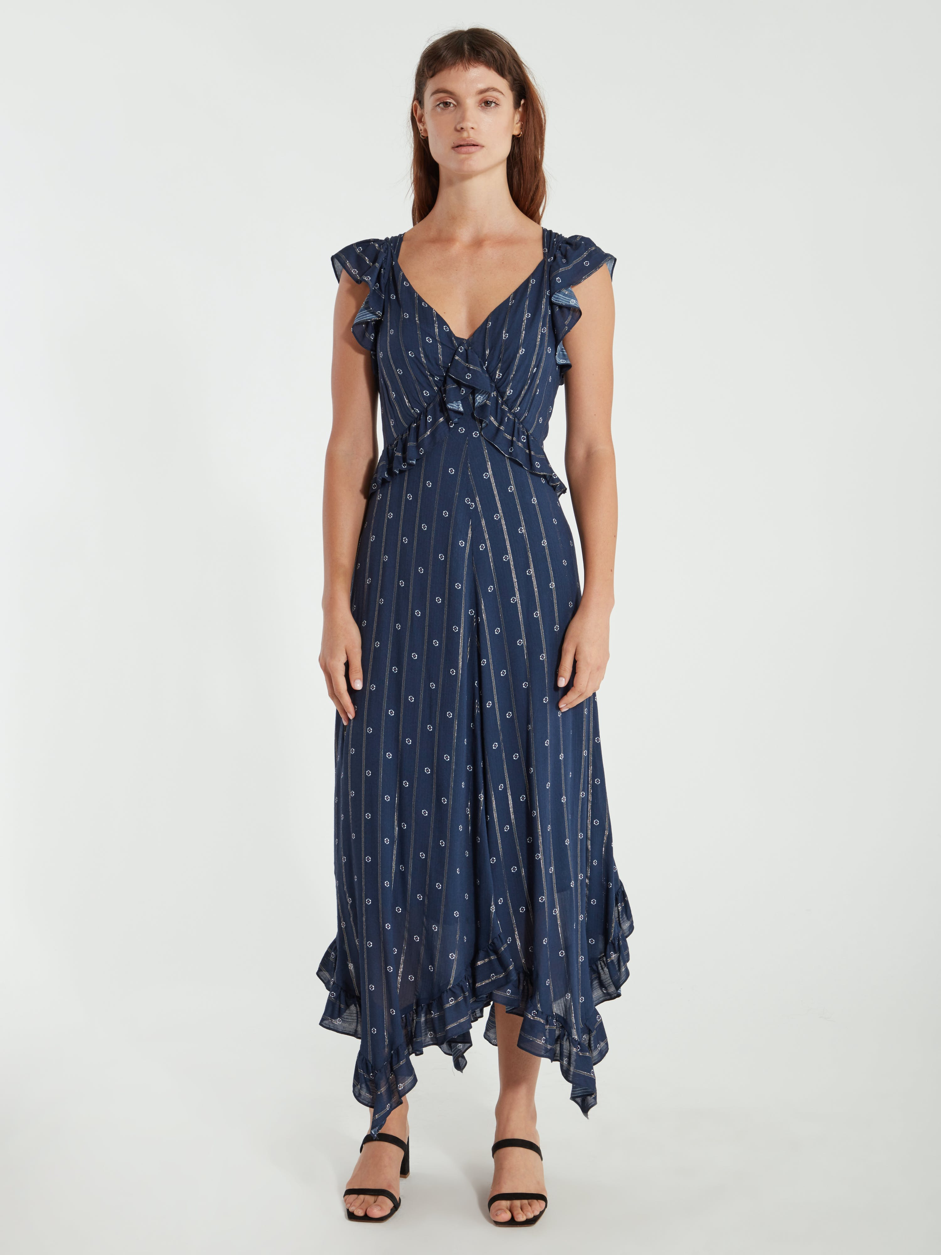 Icons Objects Of Devotion The Day Ruffle Midi Dress - Xs - Also In: M, L, S In Blue