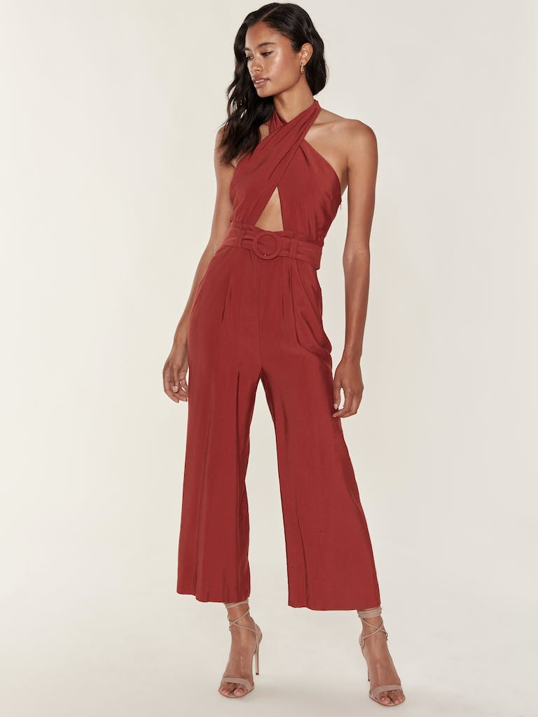 J.O.A. Belted Cut Out Halter Neck Jumpsuit product image