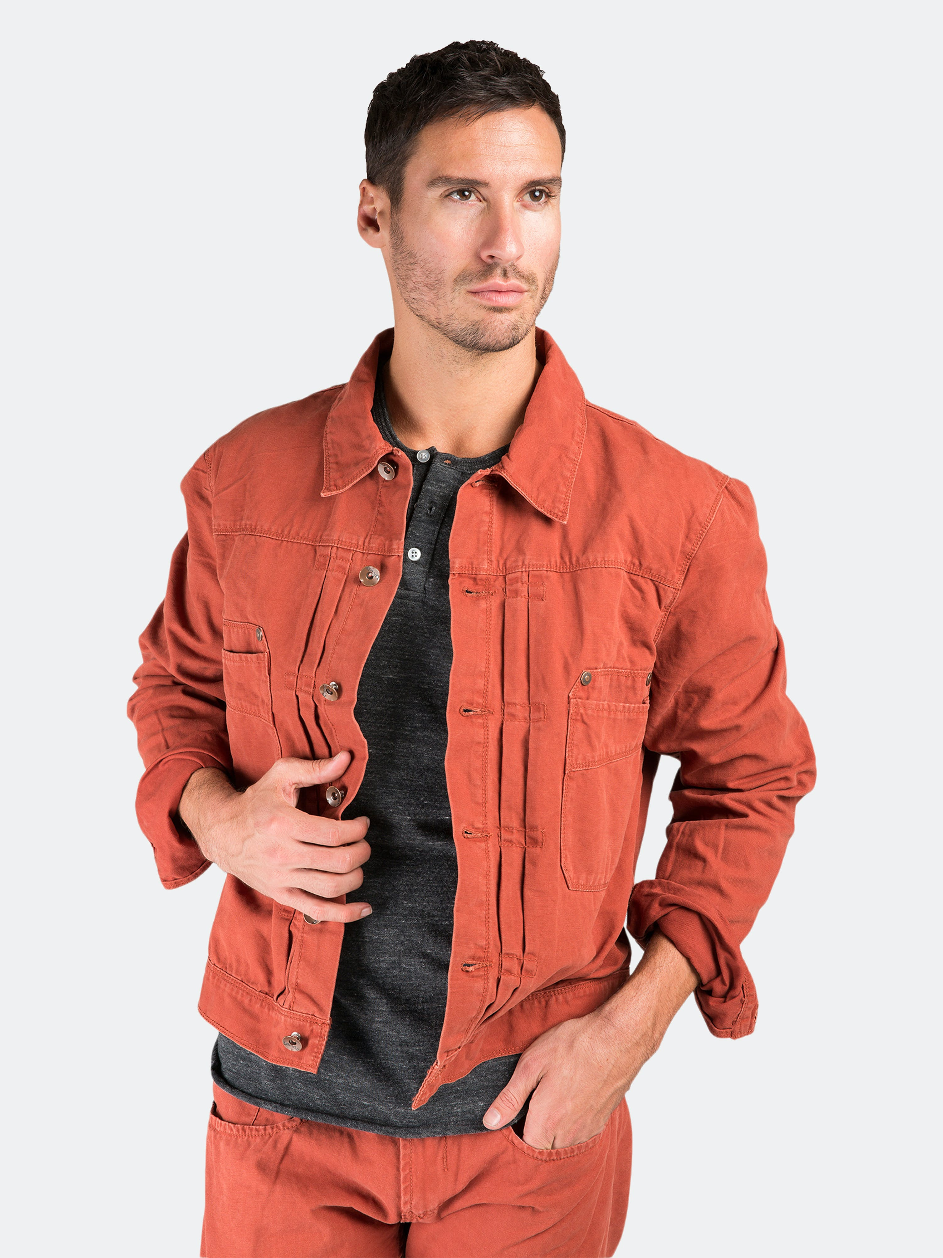 Level 7 Bbq Red Heavy Wash Canvas Trucker Jacket 100% Cotton Rugged And Stylish