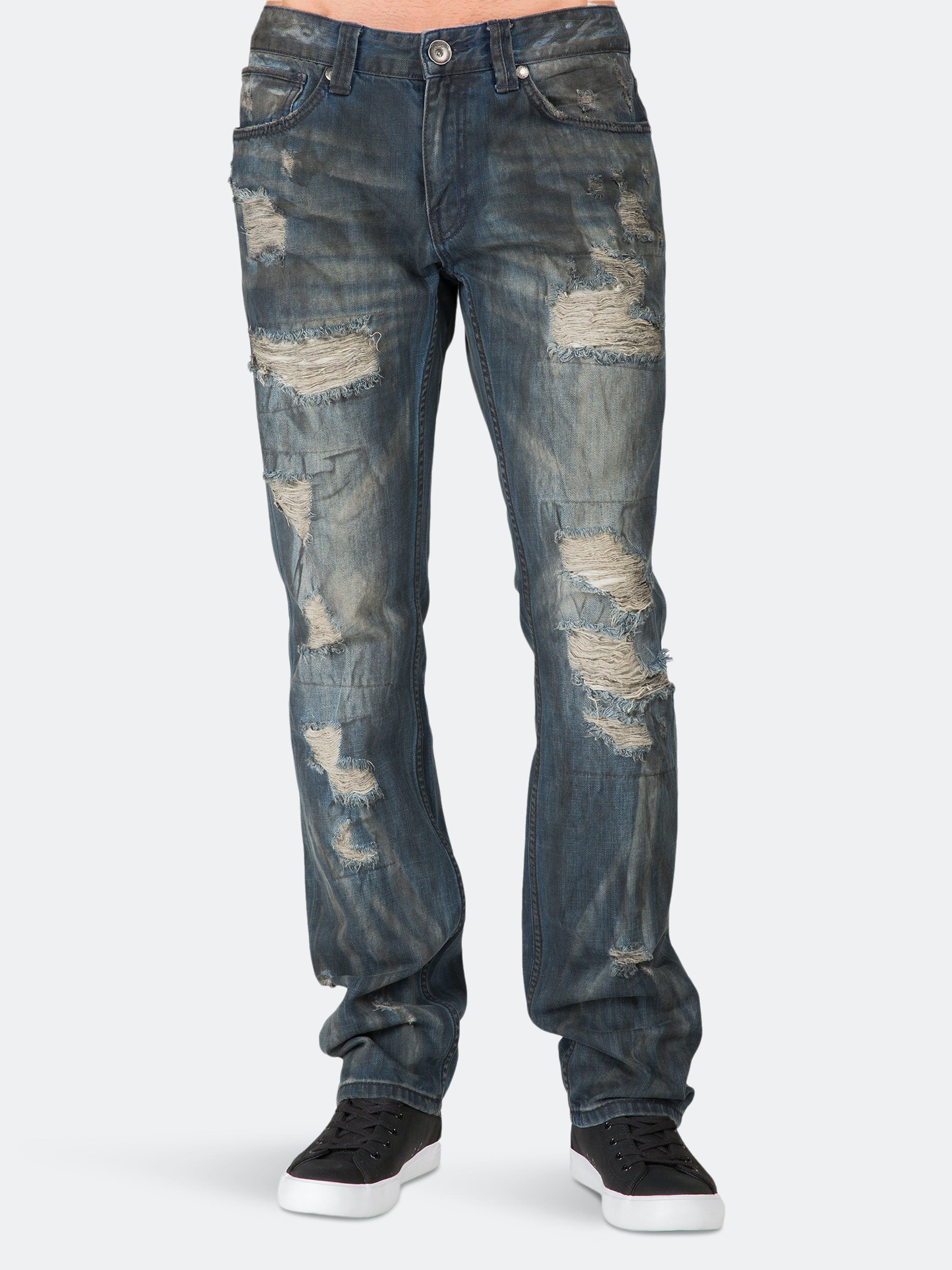 Level 7 Premium Jeans Slim Straight Black Tint Destroyed & Mended In Blue
