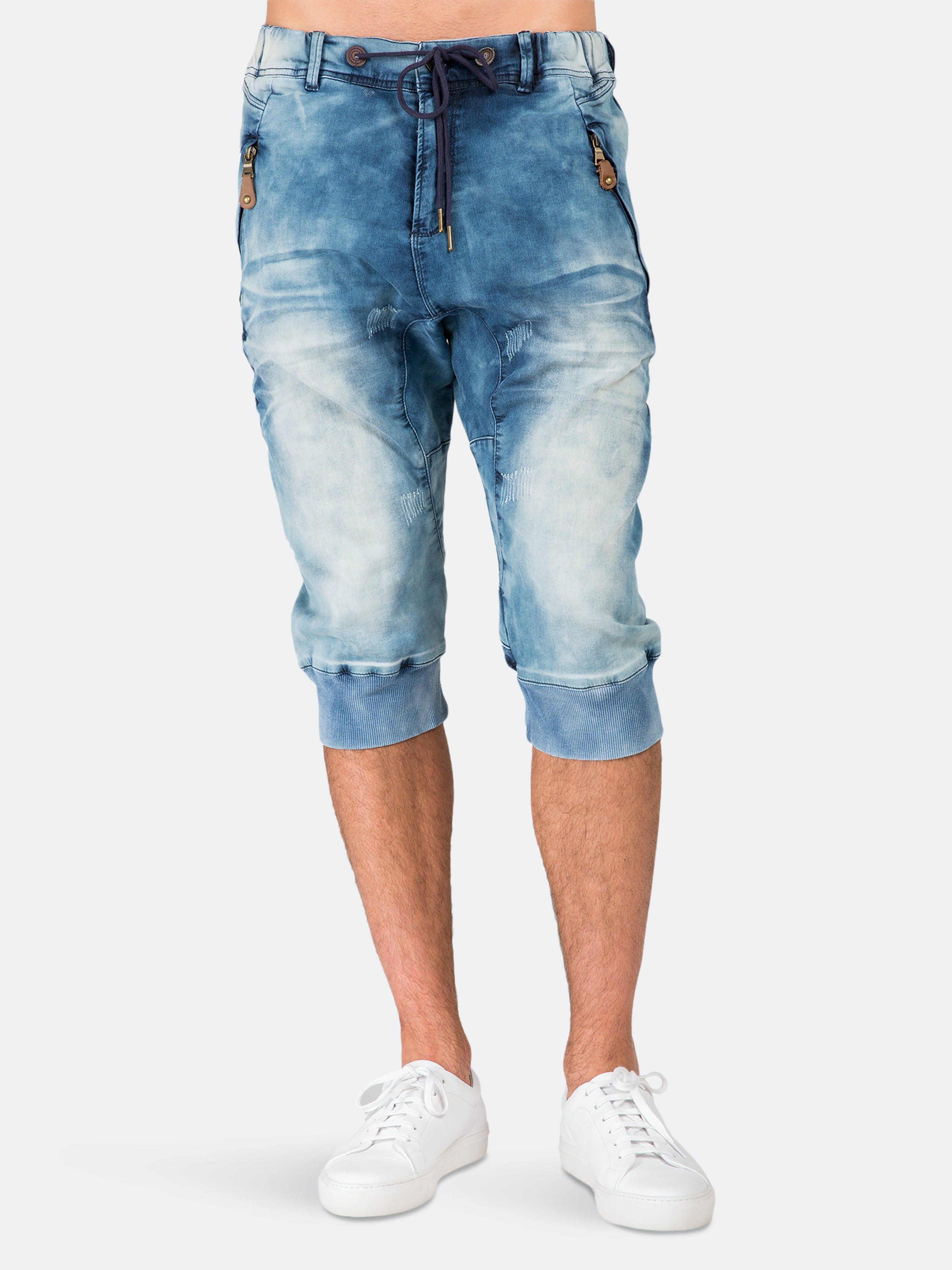 Level 7 Premium Jogger Capri Knit Denim Shorts Medium Clouded Blue