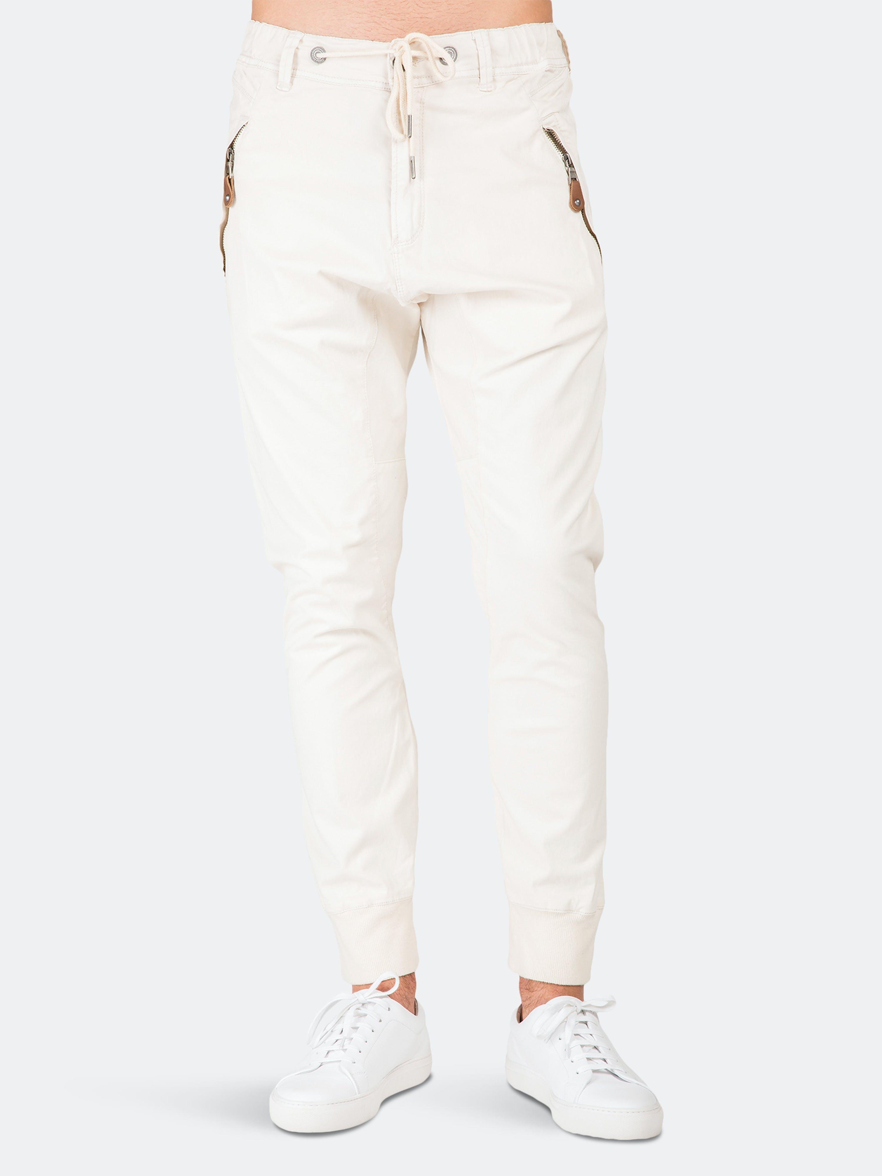 Level 7 Premium Stretch Twill Jogger Pant Drop Crotch Zipper Pockets In White