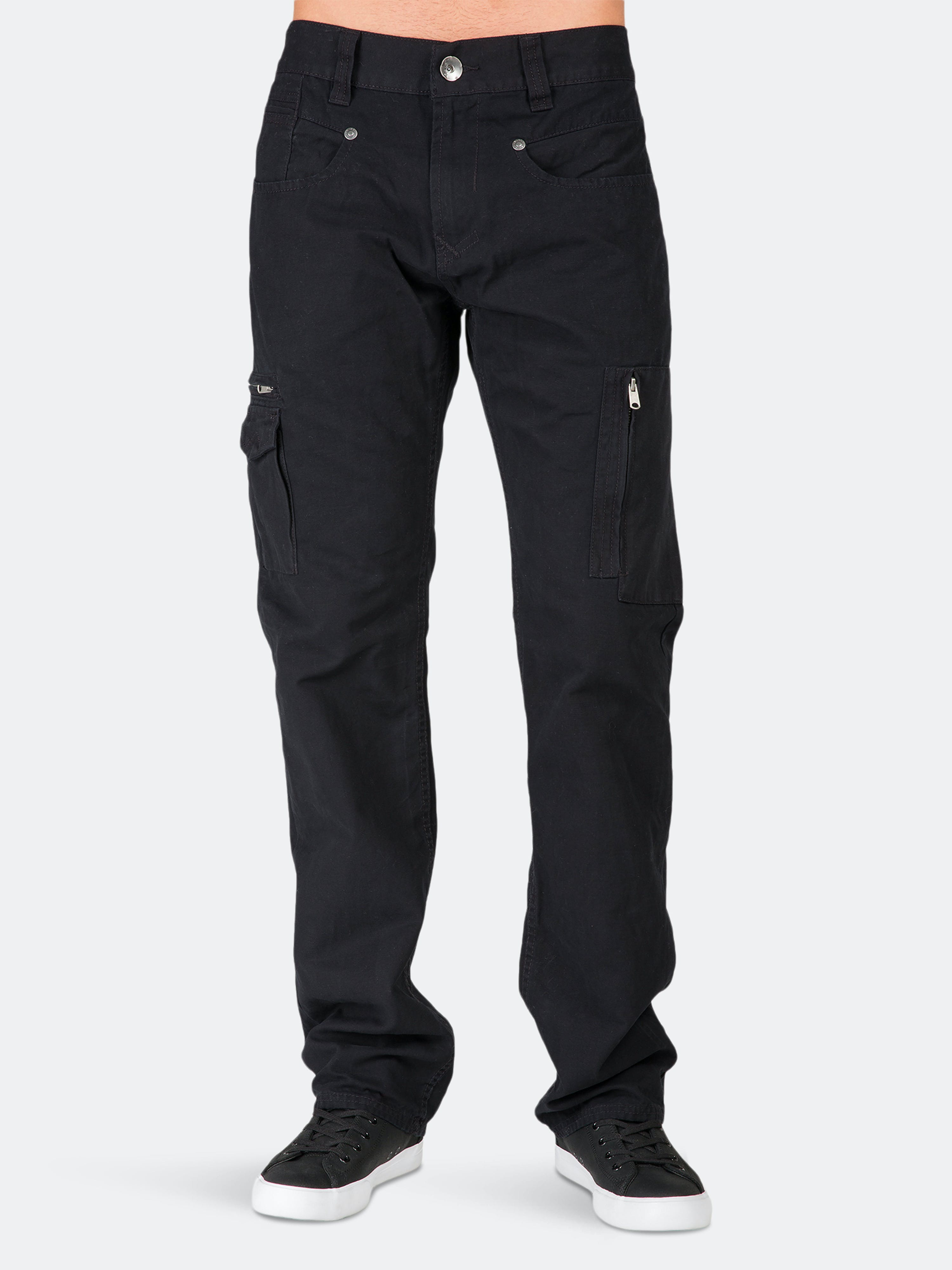 Level 7 Relaxed Straight Black Canvas Premium Jeans Zipper Cargo Pockets