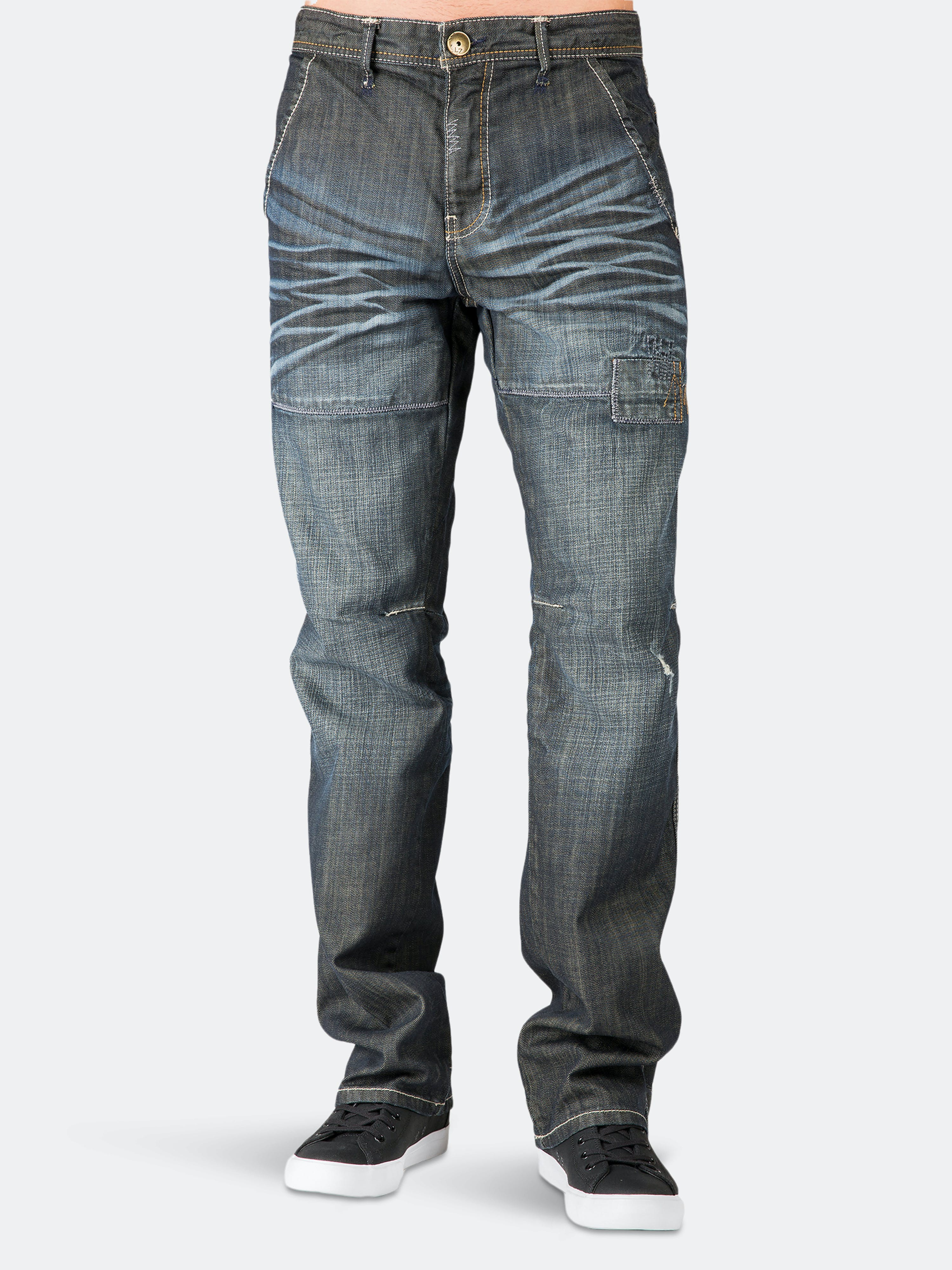 Level 7 Relaxed Straight Premium Jeans Dark Stone Wash Ripped & Repaired In Blue