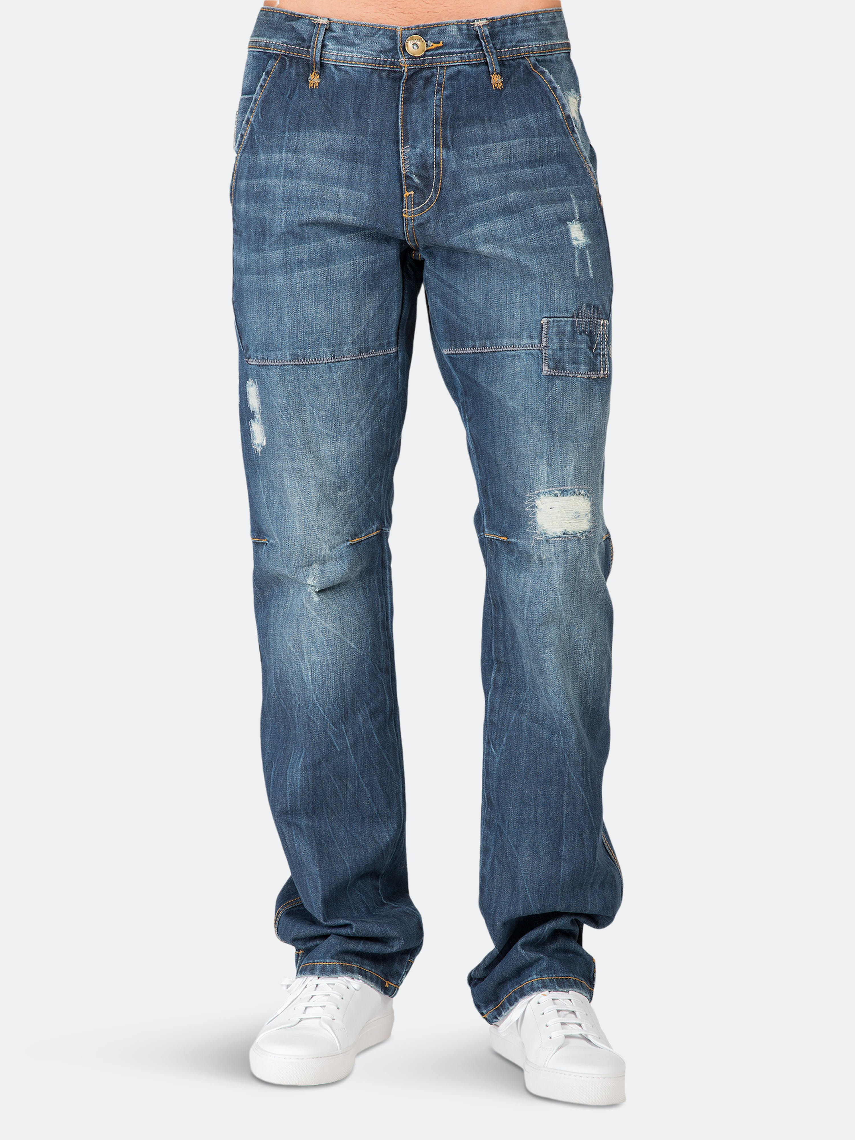 Level 7 Slim Straight Premium Jeans Vintage Whisker Ripped & Repaired In Blue