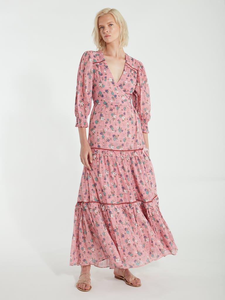 LoveShackFancy Stormi Blouson Sleeve Wrap Maxi Dress product image