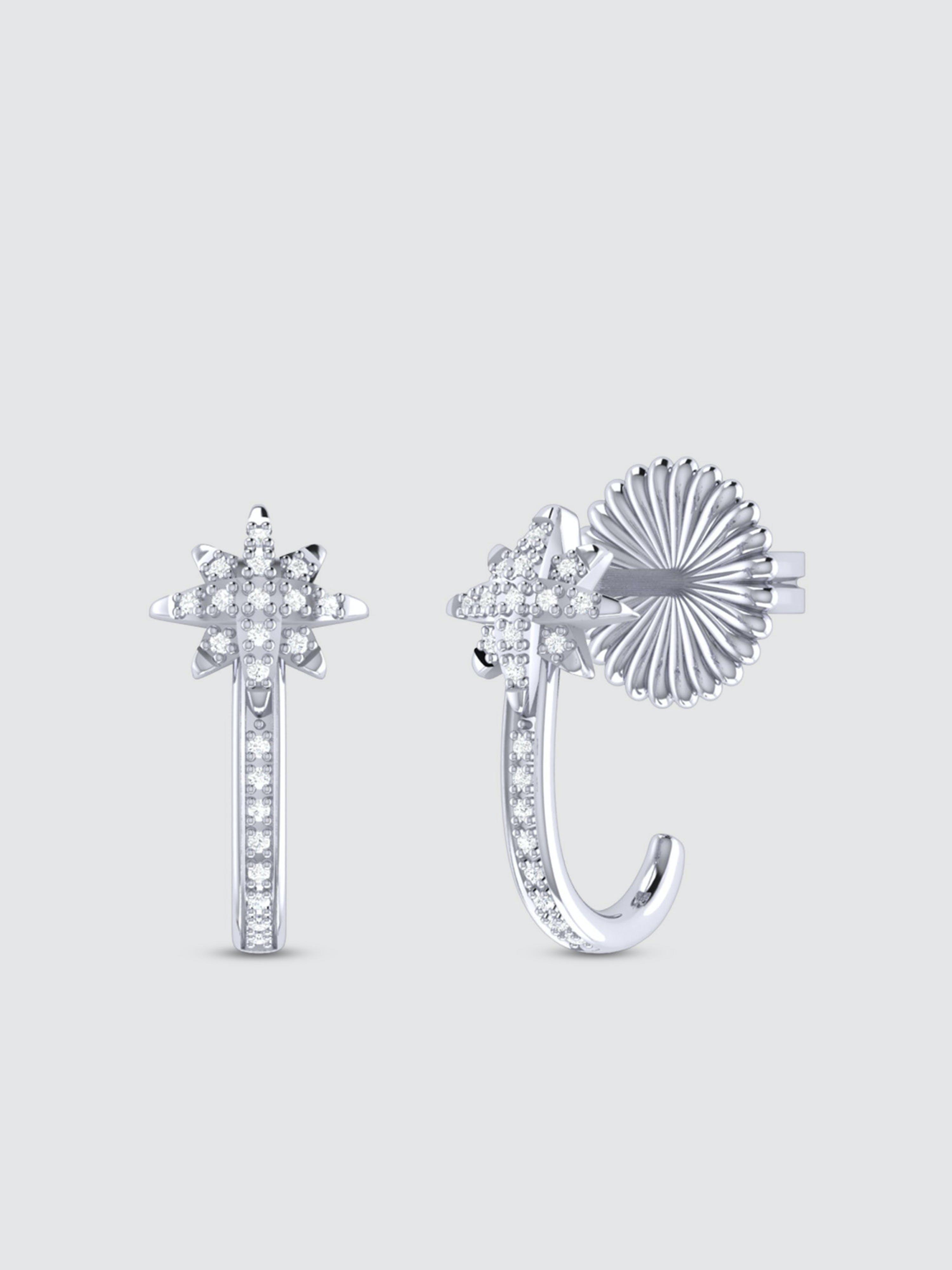 Luvmyjewelry North Star Diamond Earrings In Sterling Silver In Grey