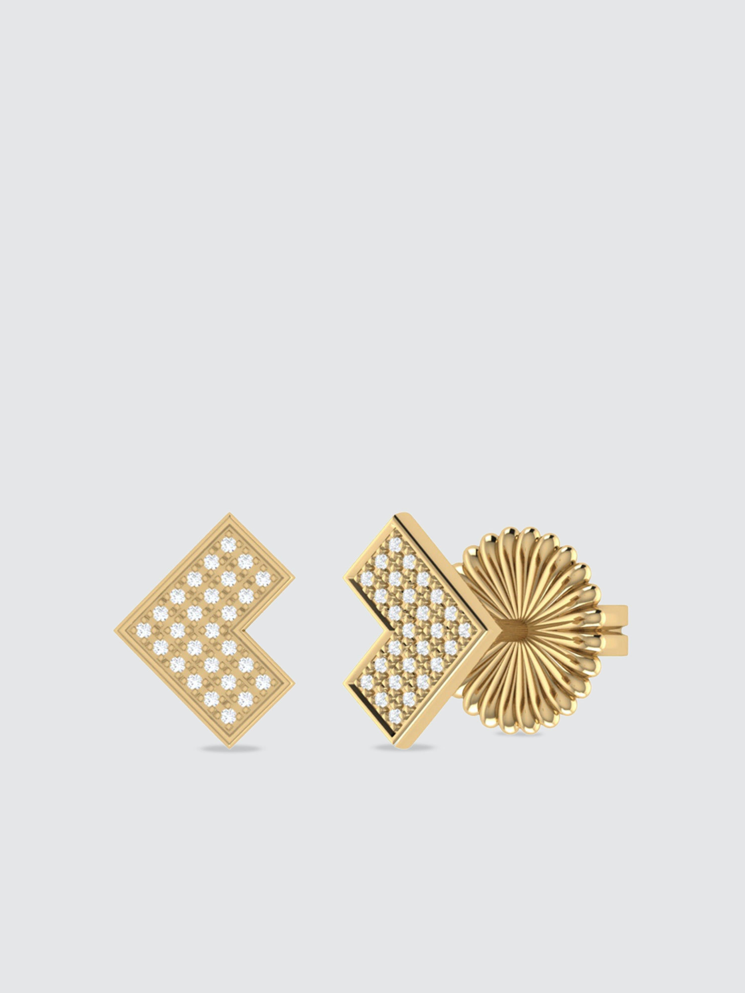 Luvmyjewelry One Way Arrow Diamond Stud Earrings In 14k Yellow Gold Vermeil On Sterling Silver