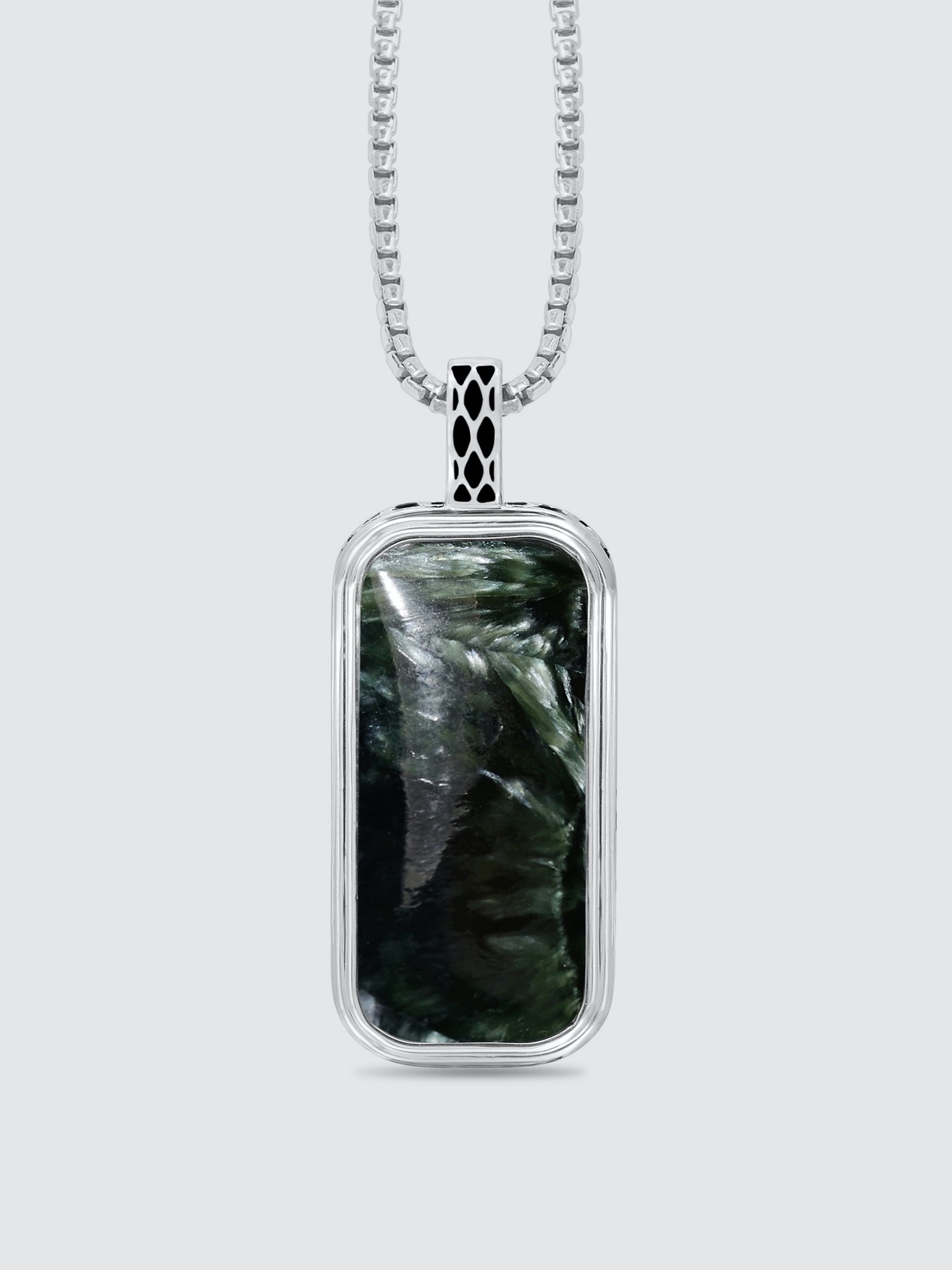 Luvmyjewelry Seraphinite Stone Tag In Black Rhodium Plated Sterling Silver In Grey