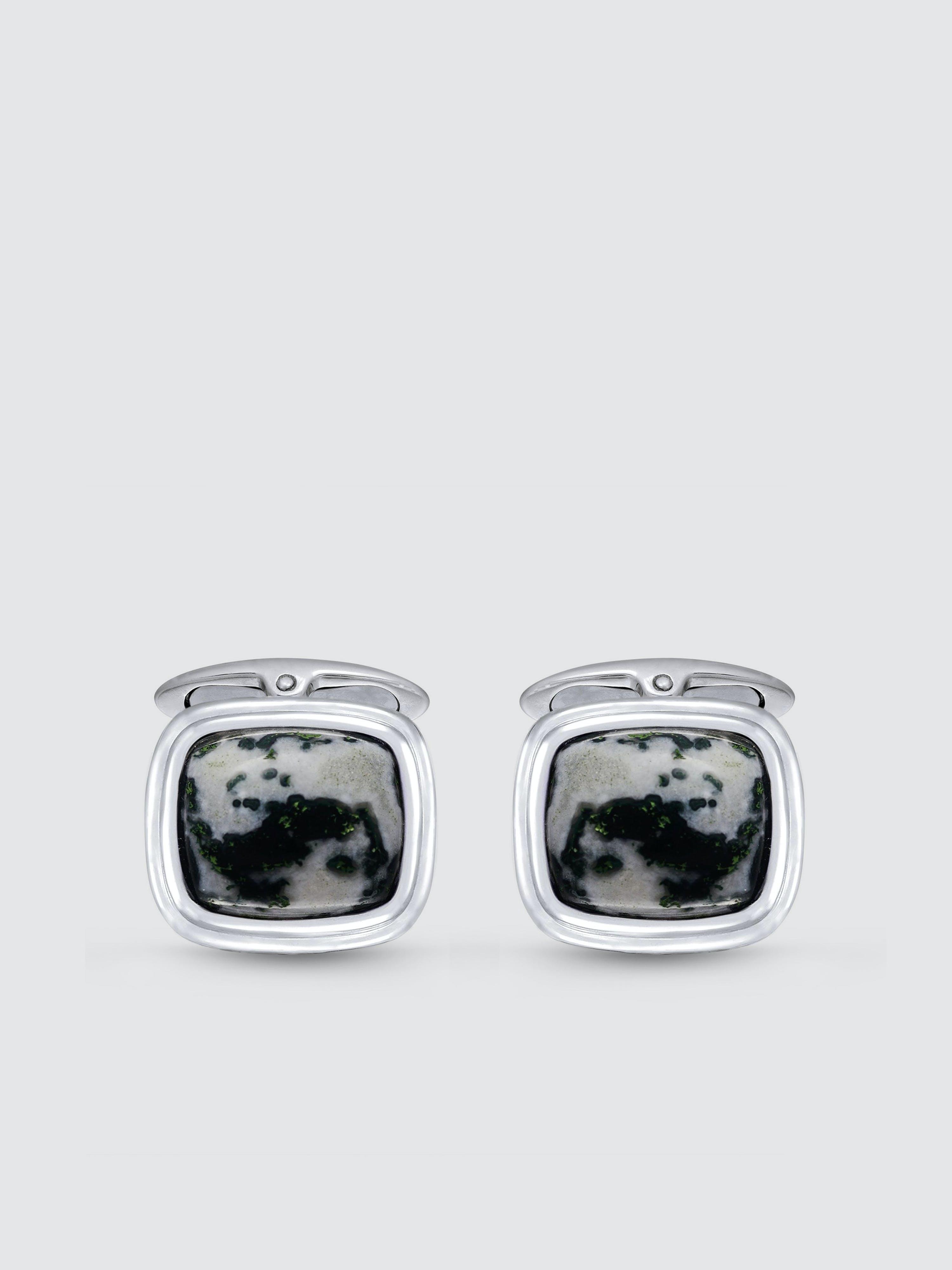 Luvmyjewelry Tree Agate Stone Cufflinks In Black Rhodium Plated Sterling Silver In Grey