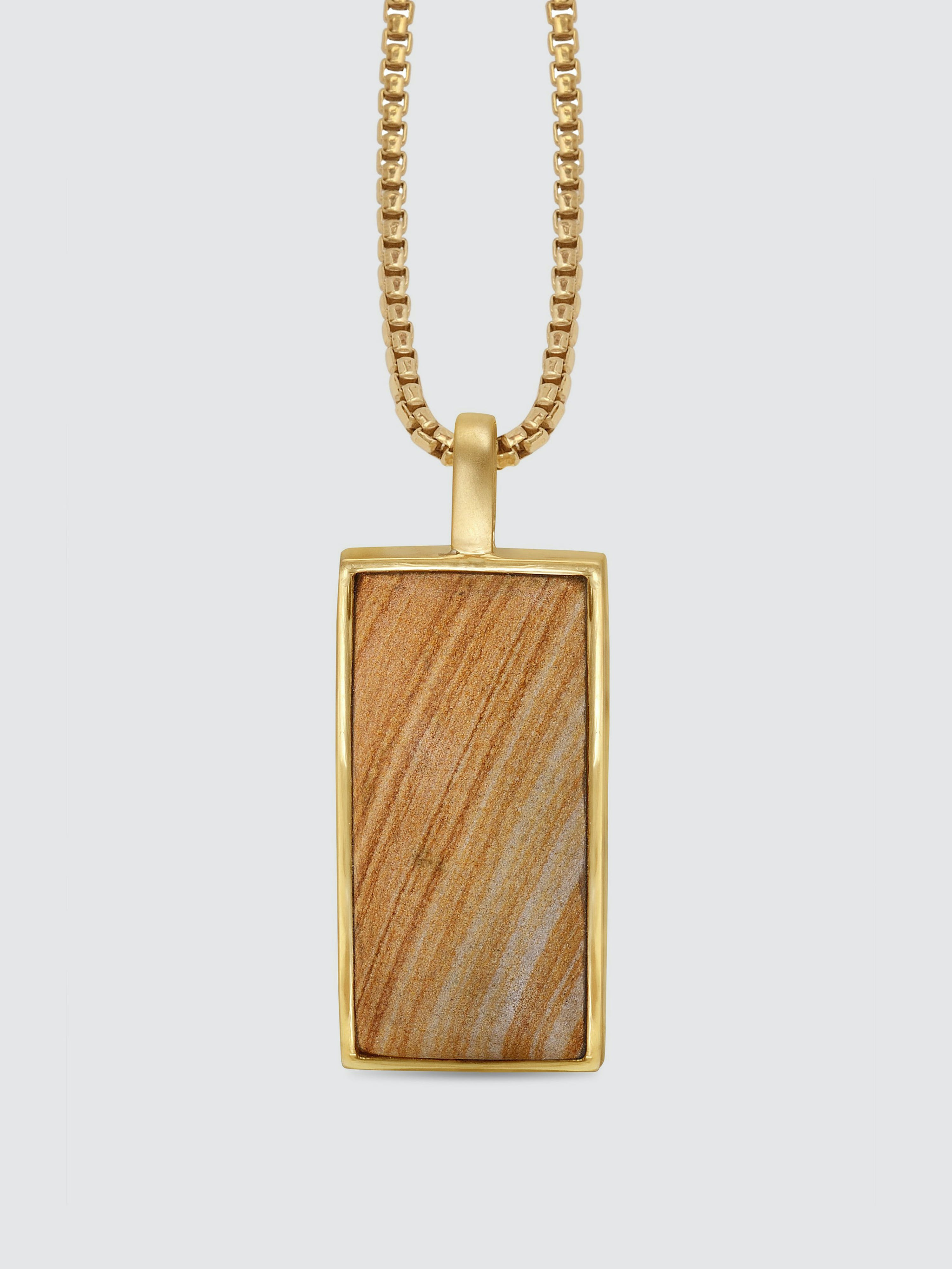 Luvmyjewelry Wood Jasper Stone Tag In 14k Yellow Gold Plated Sterling Silver
