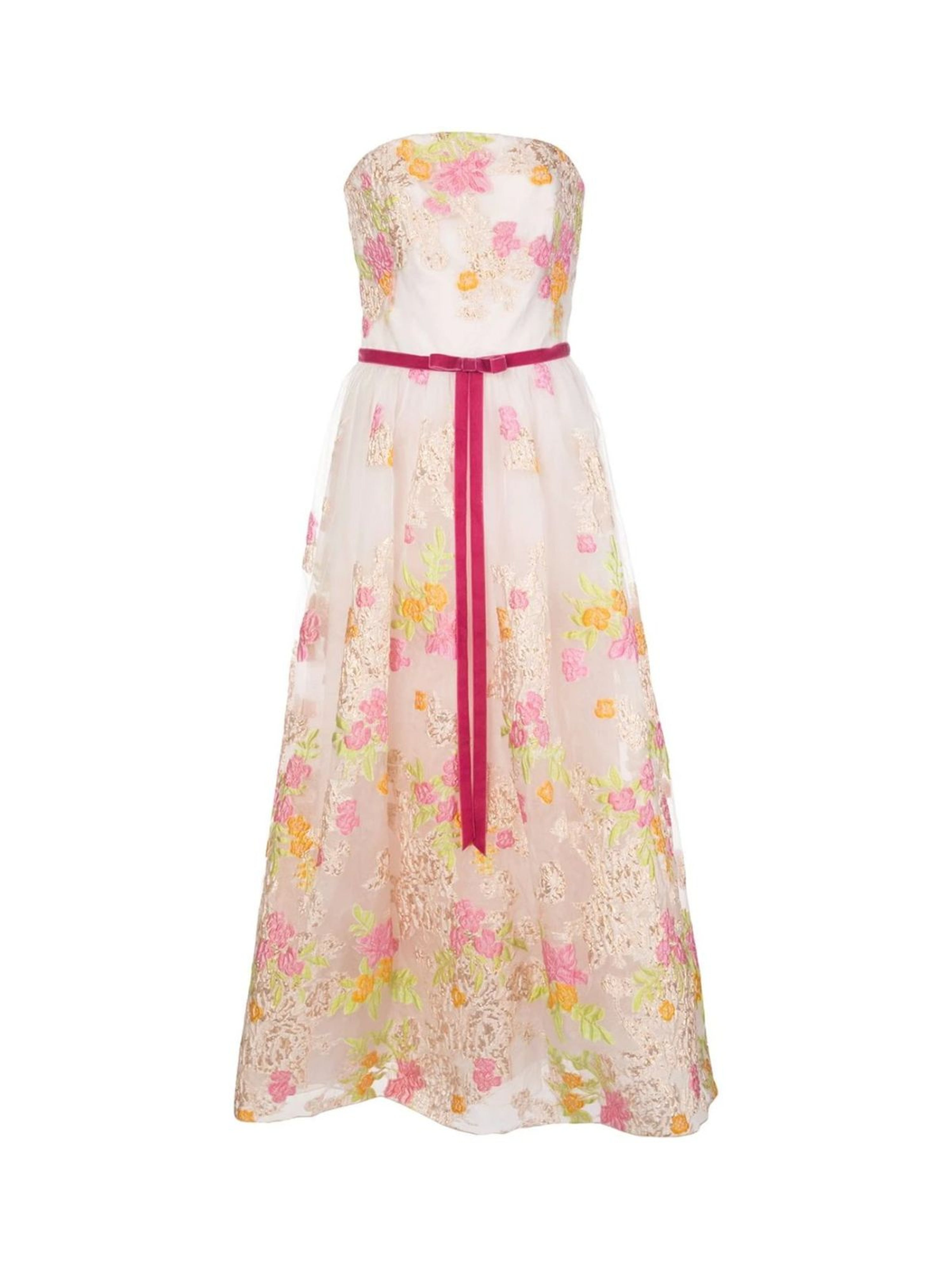 Marchesa Notte Fil Coupe Tea Length Cocktail Dress In Pink
