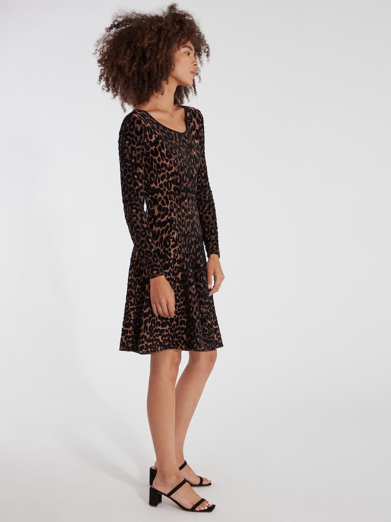 MILLY Textured Cheetah Flare Knit Dress product image