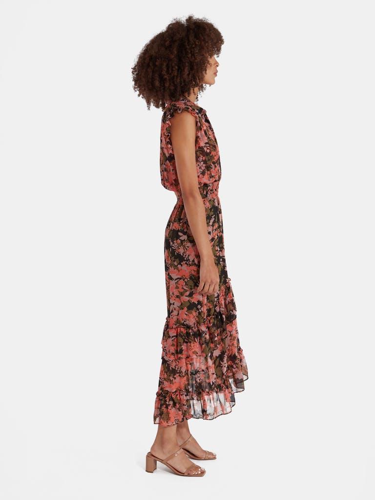 MISA Los Angeles Editha Chiffon Asymmetrical Midi Dress product image