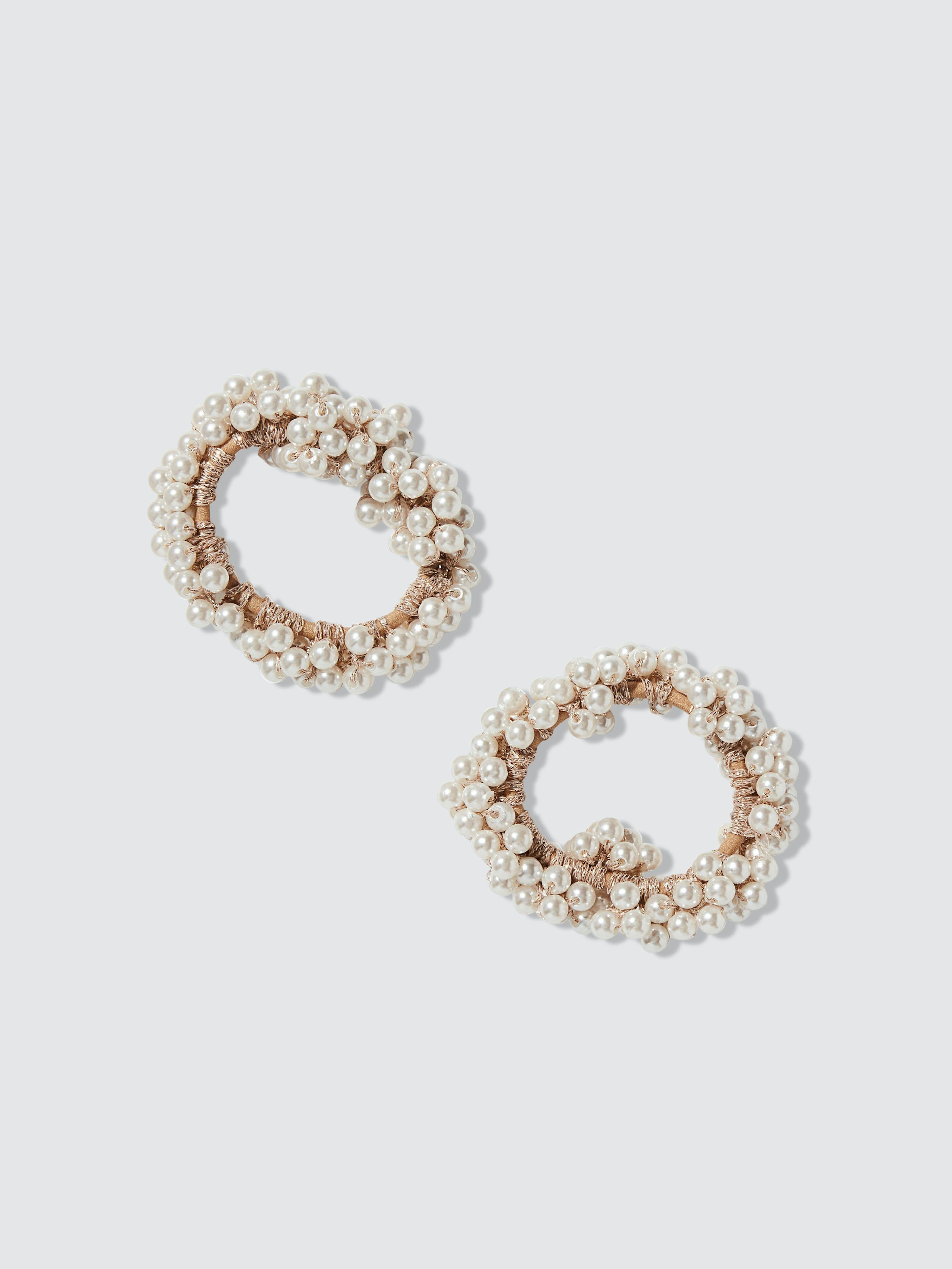 Prettyparty Ivory Pearl Scrunchies In White