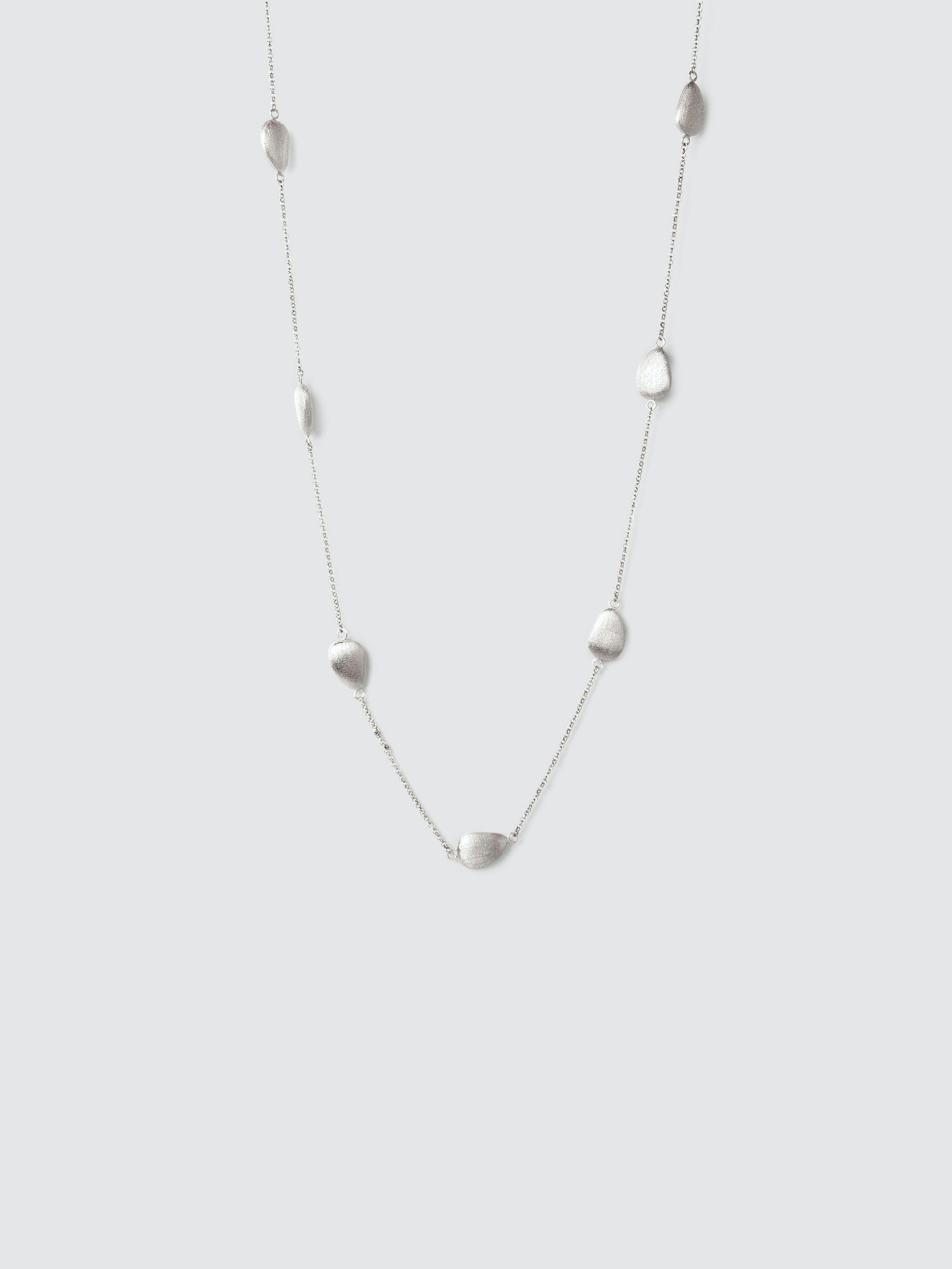 Rivka Friedman Pebble Station Satin Necklace In White Rhodium Clad