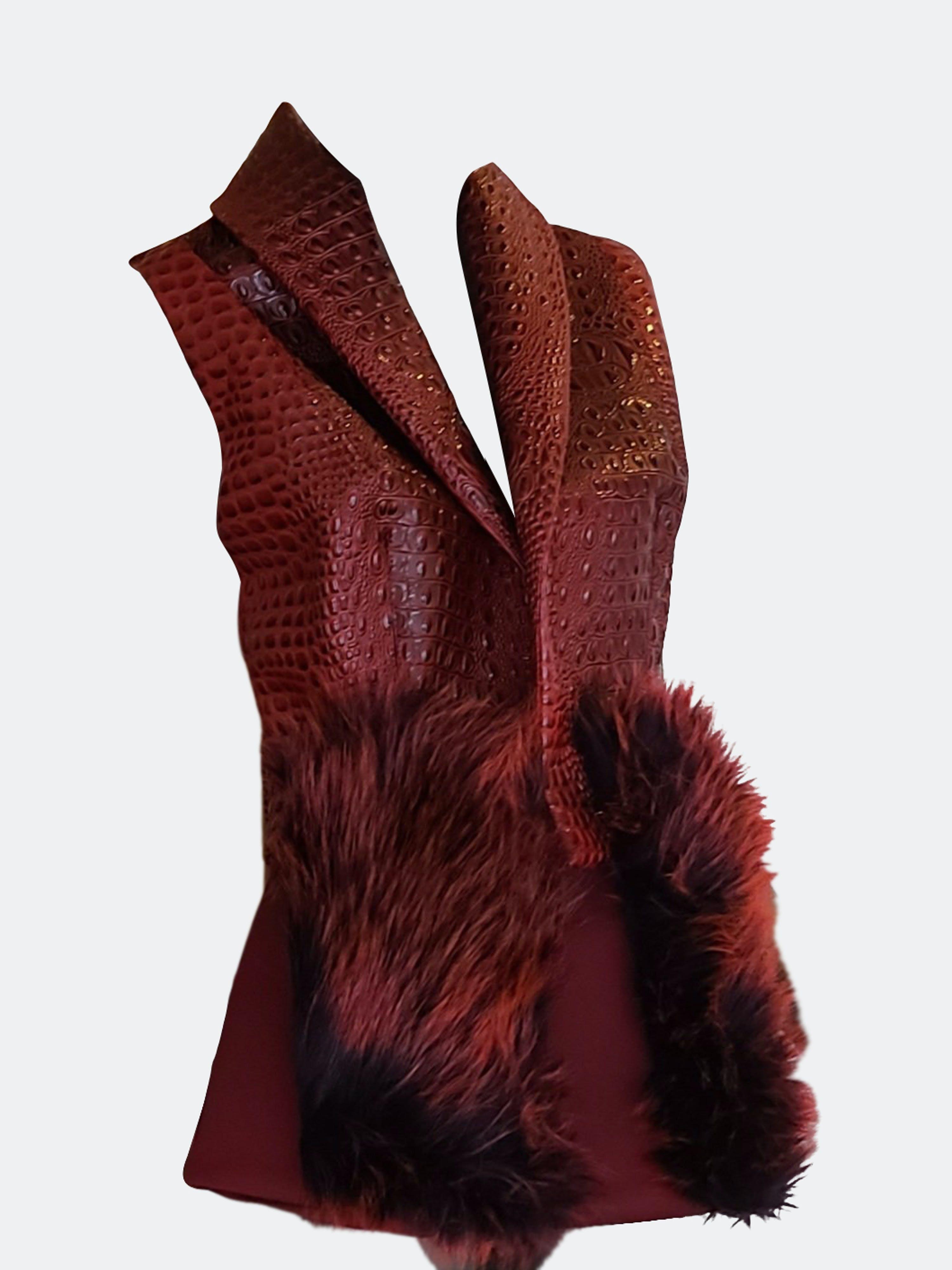 Rt Designs Faux Crocodile Skin Vest In Red
