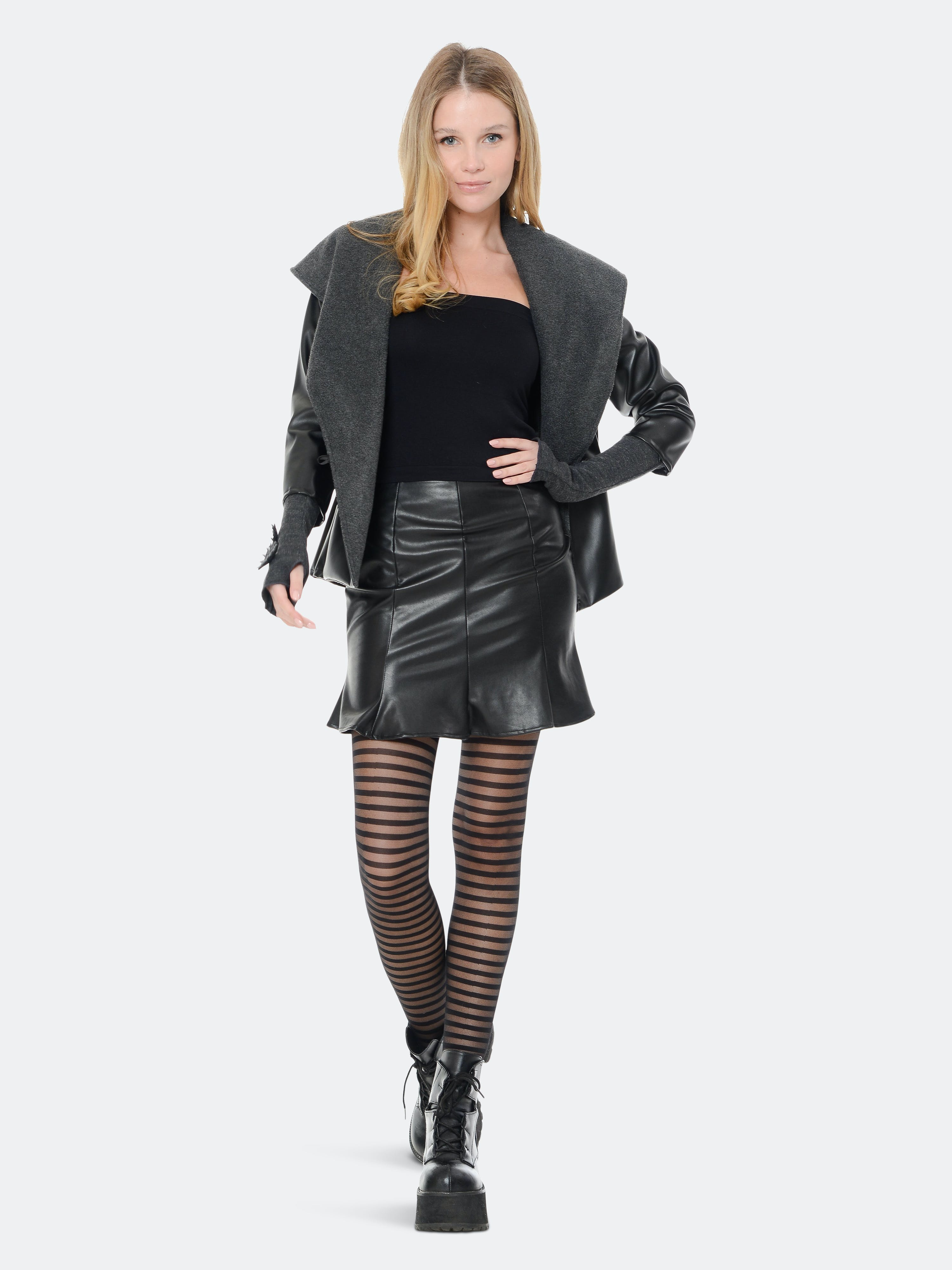 Rt Designs Faux Leather Jacket In Black