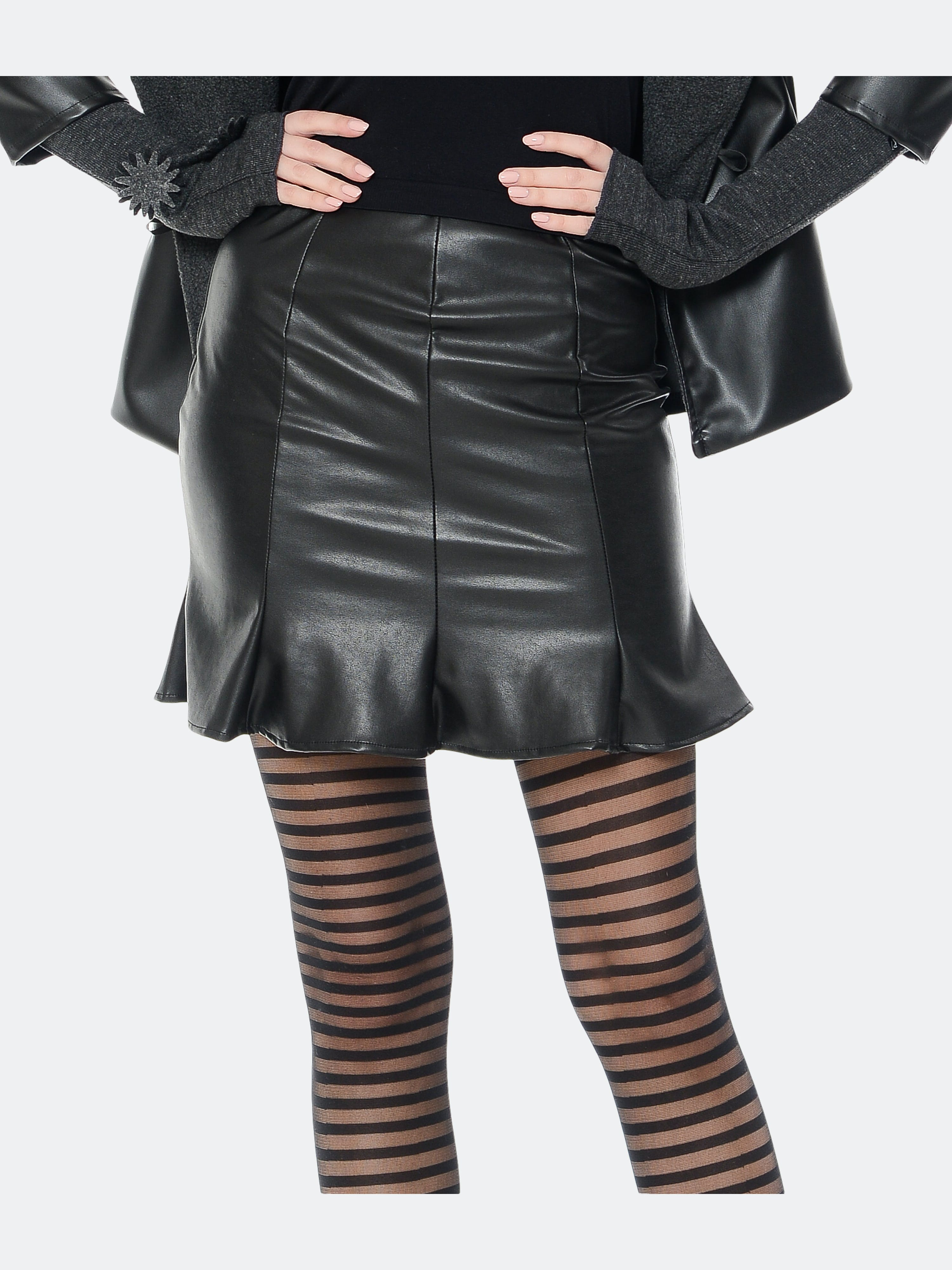 Rt Designs Faux Leather Mini Skirt In Black
