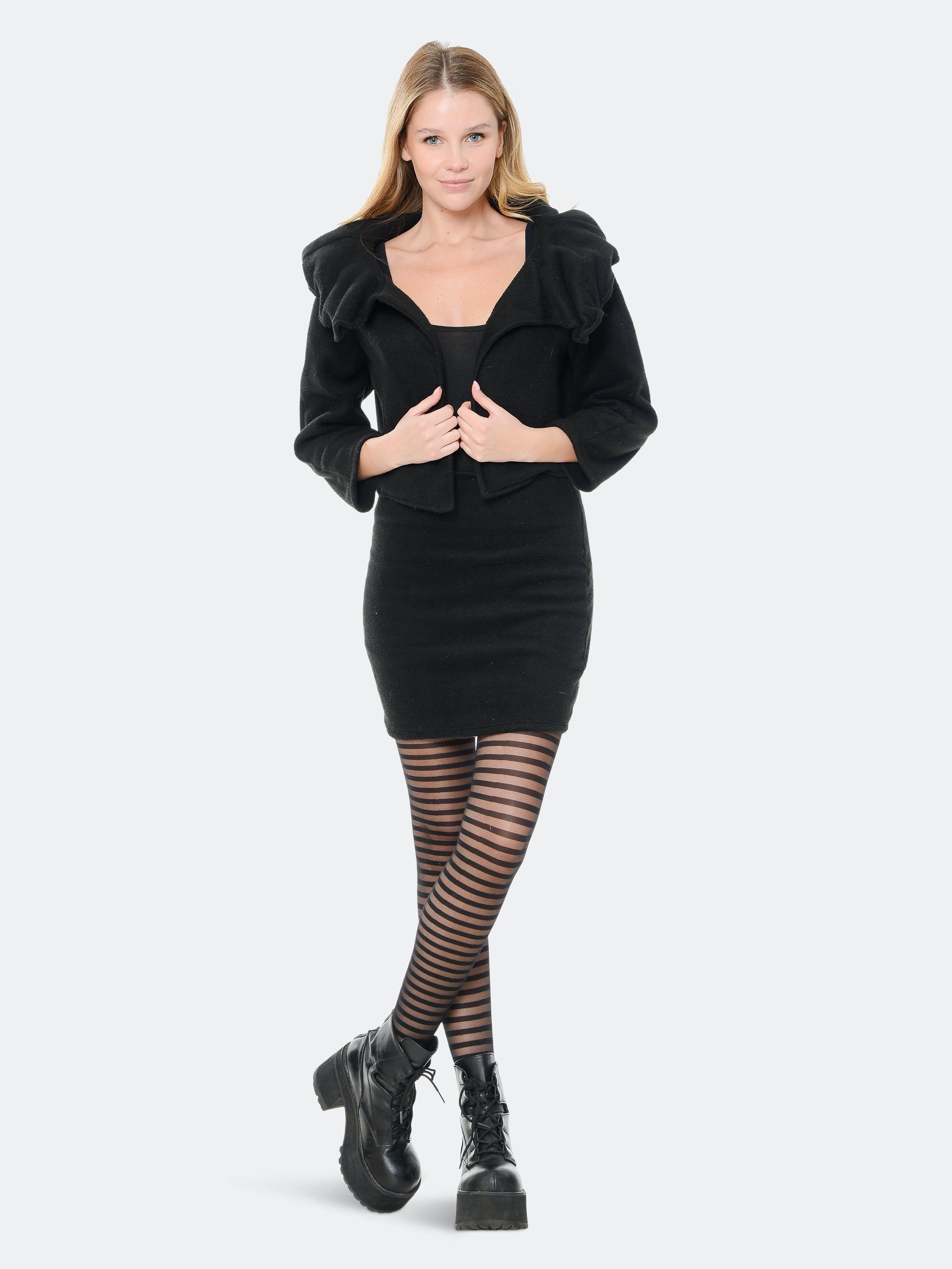 Rt Designs Ruffled Black Jacket