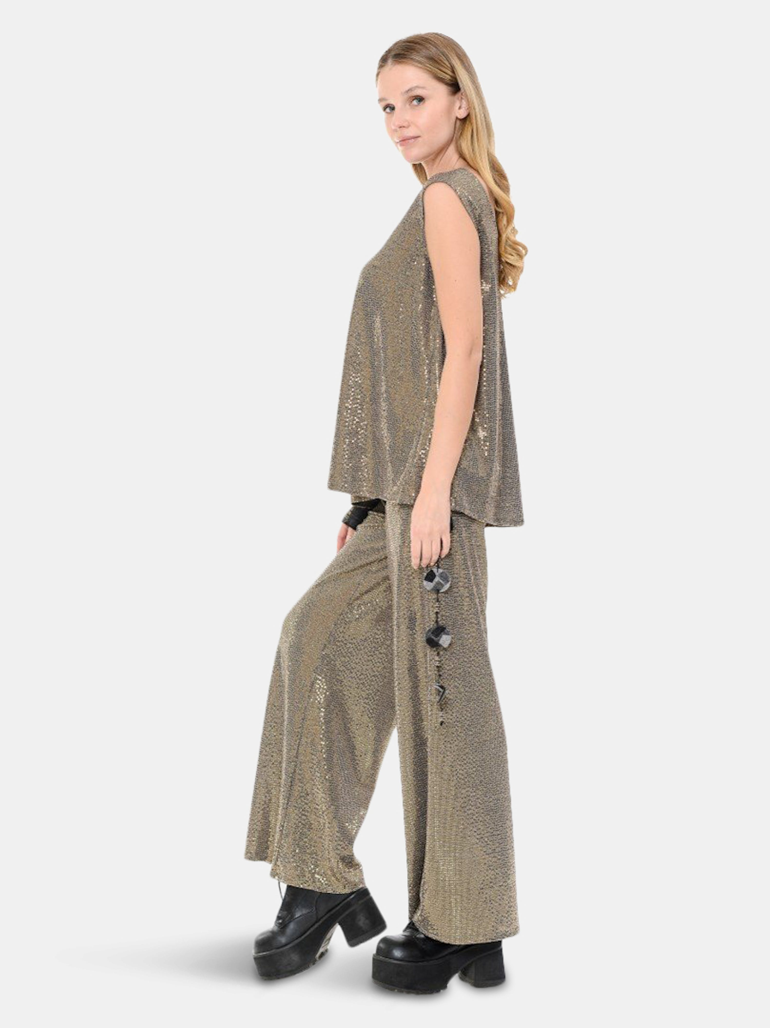 Rt Designs Sequins Palazzo Pant In Brown
