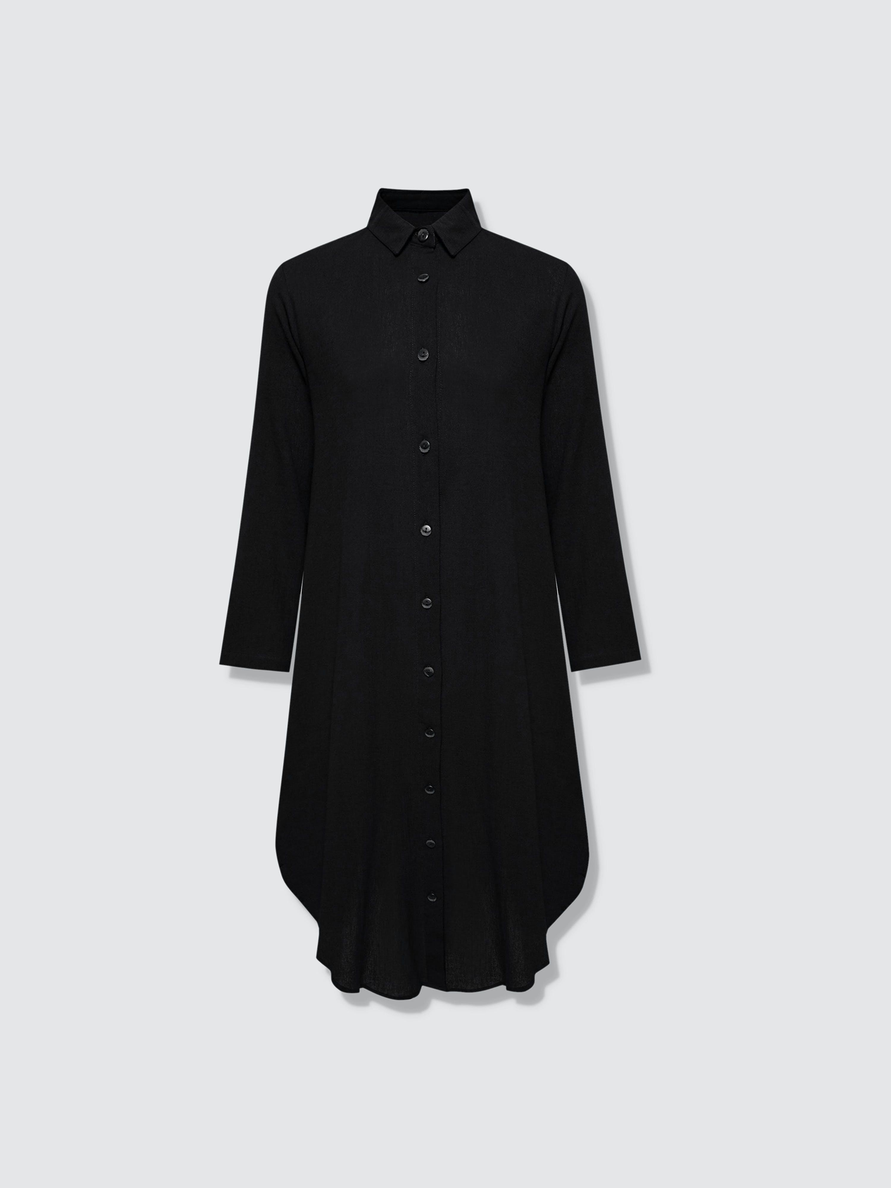 Secret Language Della Shirt Dress In Black