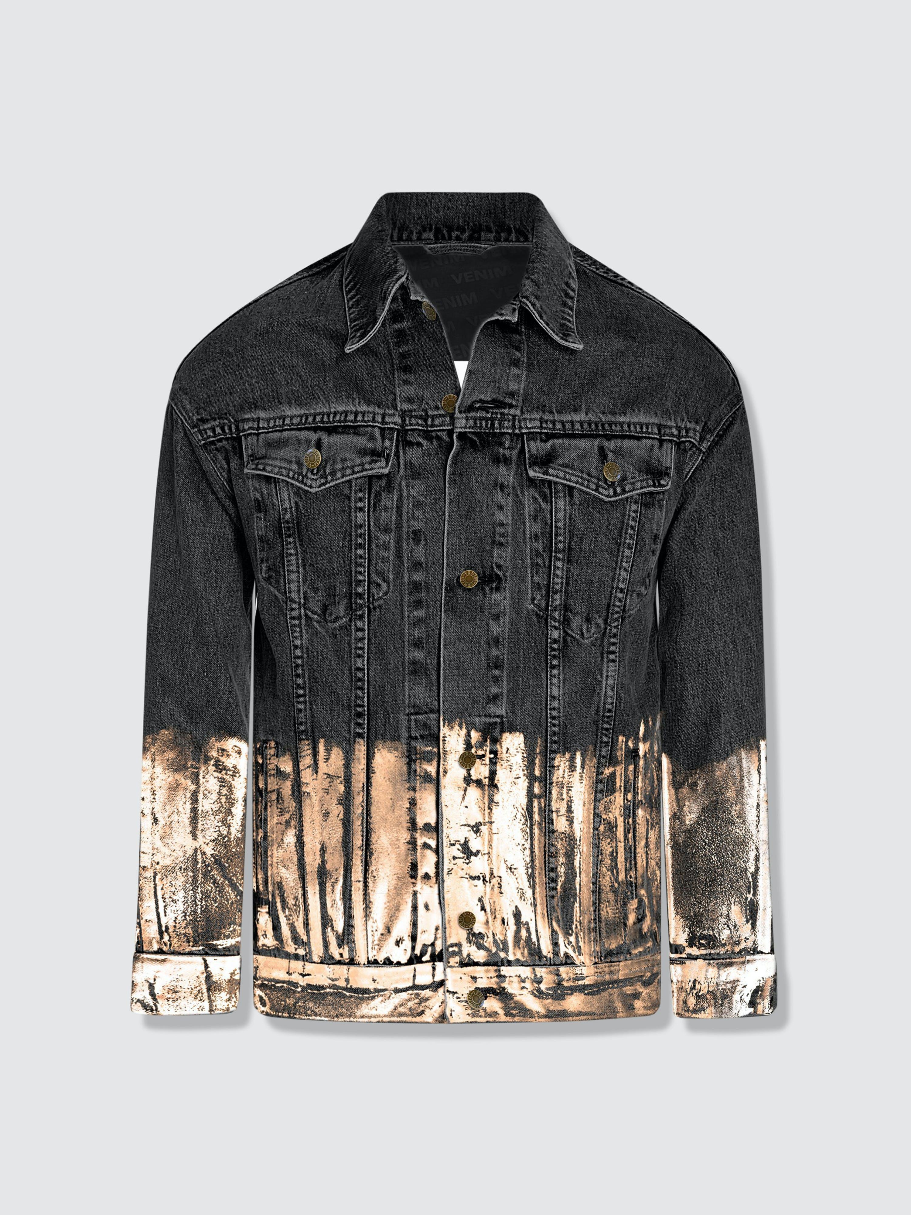 Venim Longer Washed Black Denim Jacket With Rose Gold Foil