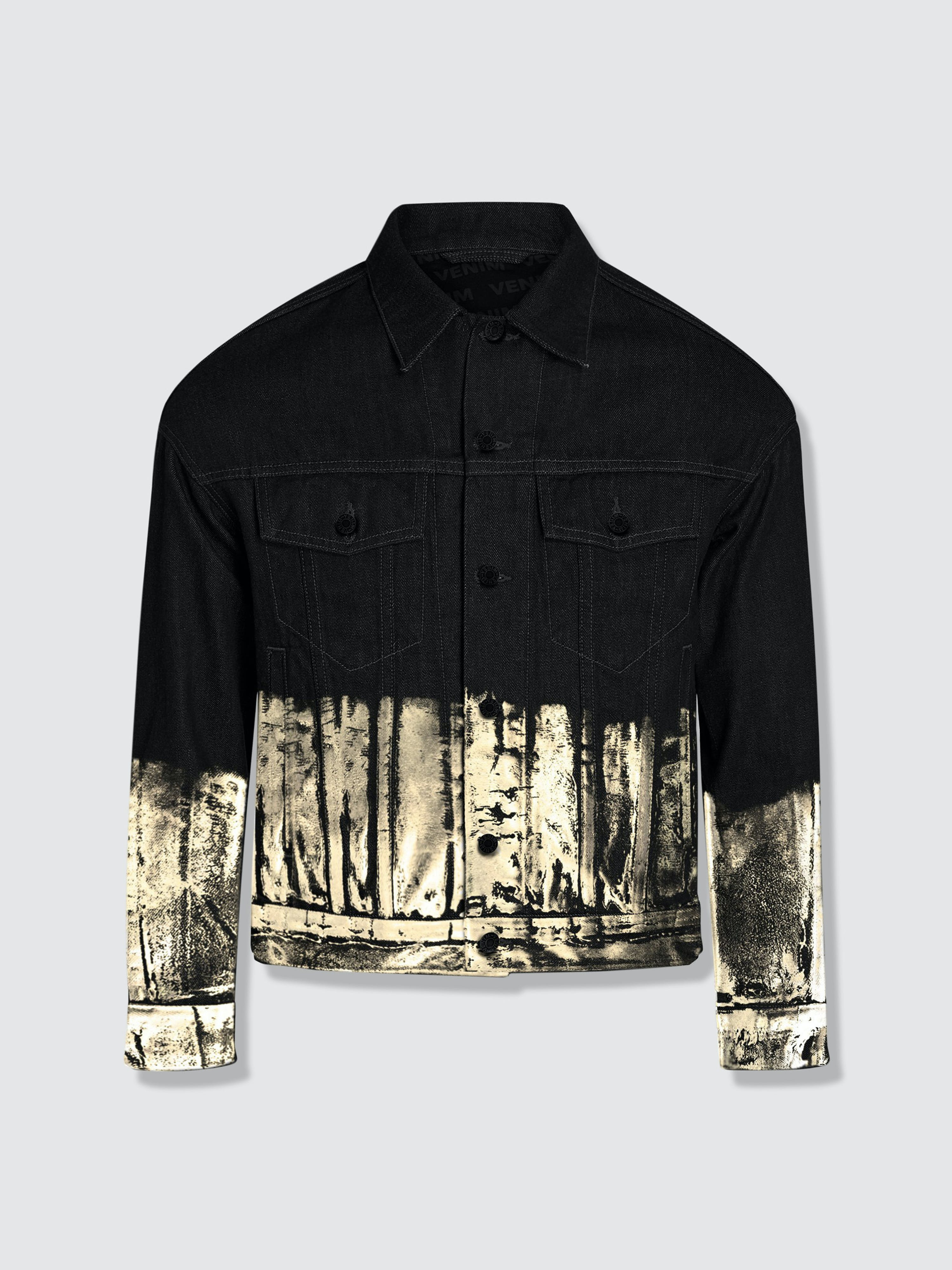 Venim Shorter Classic Black Denim Jacket With Champagne Gold Foil
