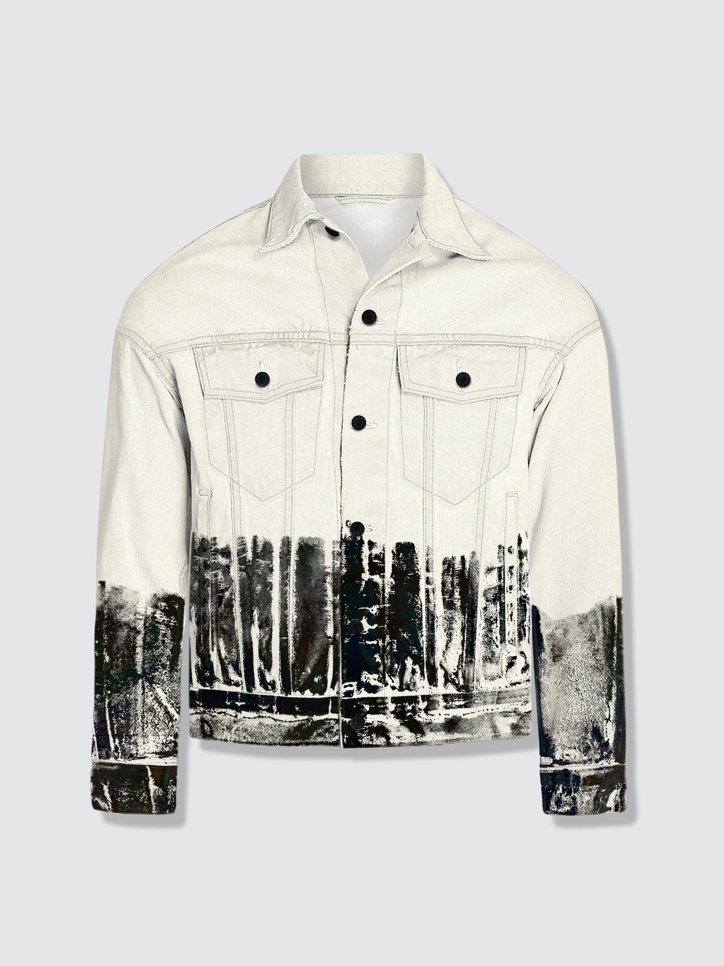 Venim Shorter Off-white Denim Jacket With Midnight Oil Foil